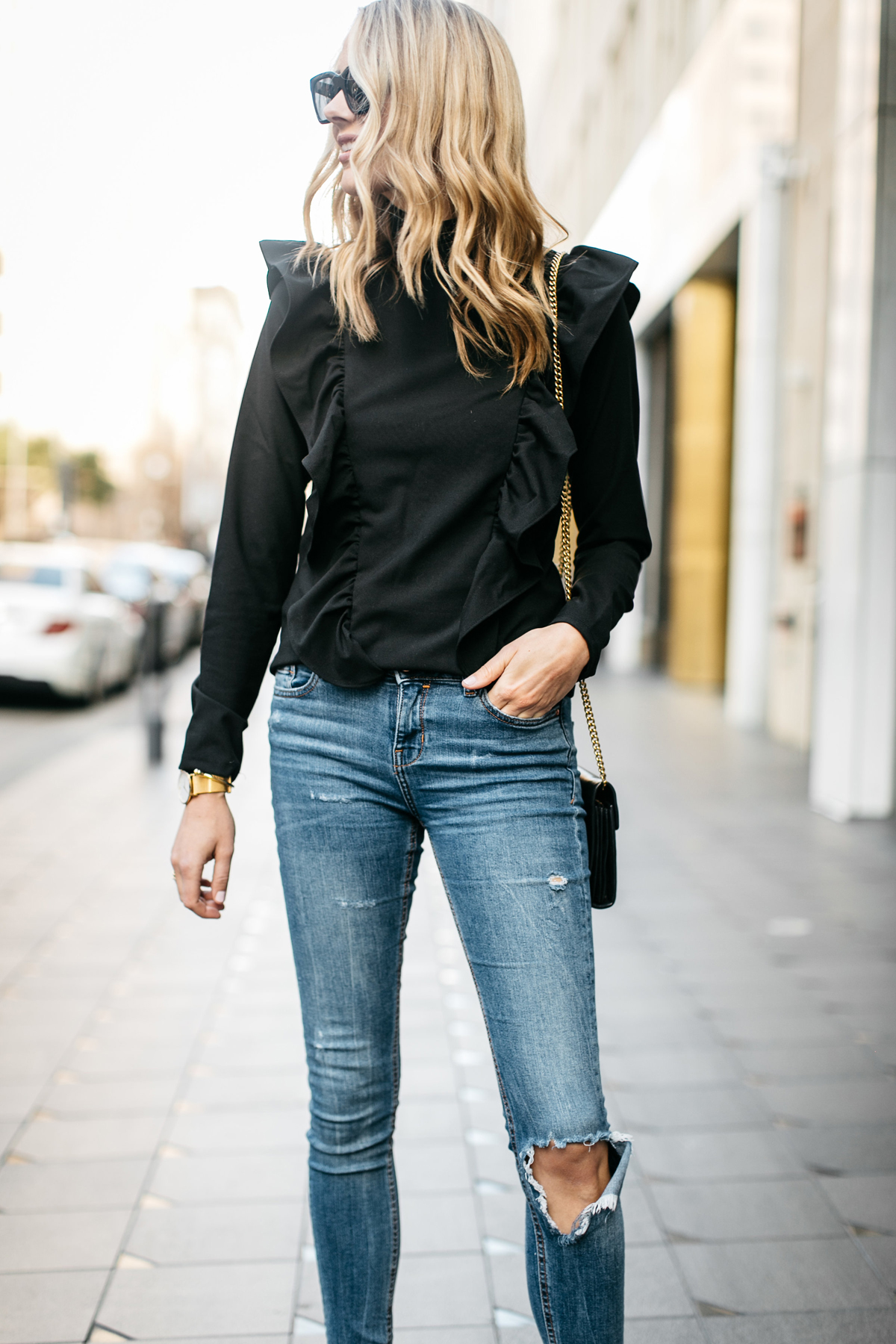 Fashion Jackson, Street Style, Black Long Sleeve Ruffle Top, Denim Ripped Skinny Jeans