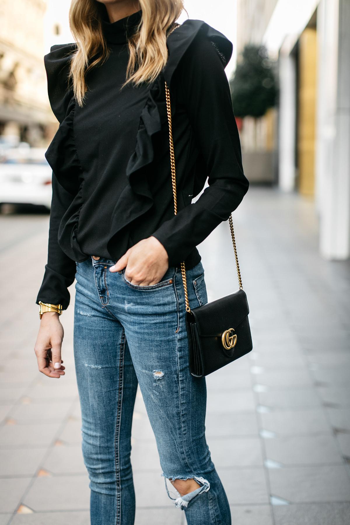 Fashion Jackson, Street Style, Black Long Sleeve Ruffle Top, Denim Ripped Skinny Jeans, Gucci Marmont Handbag
