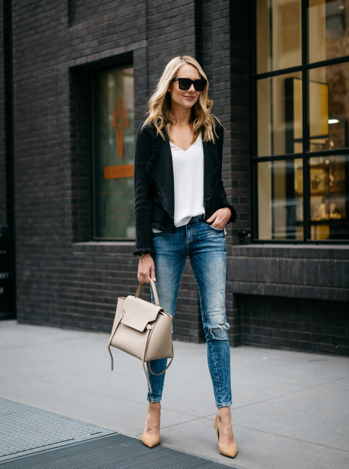 Fall Outfit, Spring Outfit, Black Fringe Cardigan, White Tank, Denim Ripped Skinny Jeans, Tan Suede Pumps, Celine Belt Bag