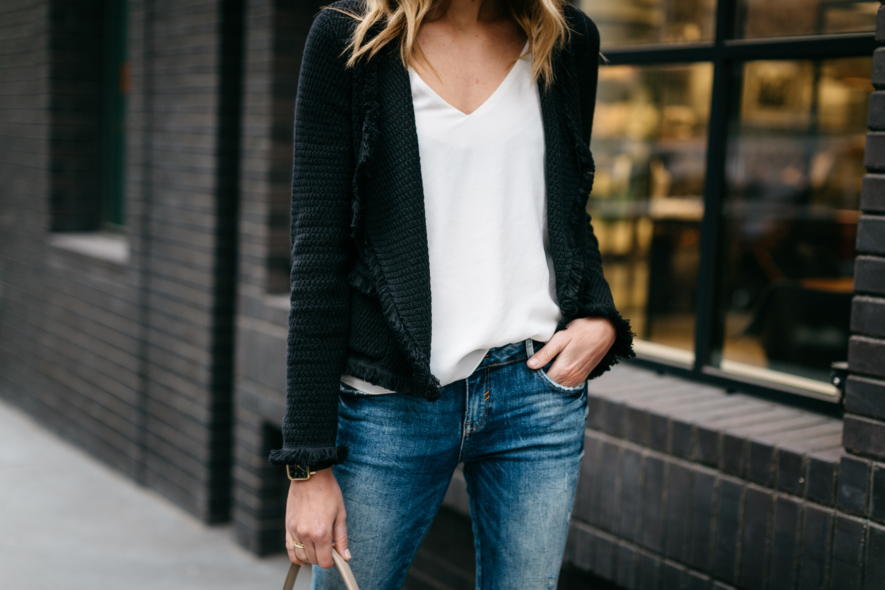 Fall Outfit, Spring Outfit, Black Fringe Cardigan, White Tank, Denim Ripped Skinny Jeans