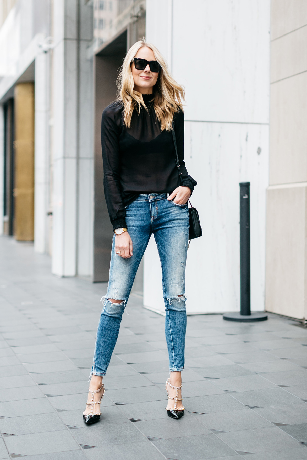 Fall Outfit, Black Long Sleeve Sheer Top, Denim Ripped Skinny Jeans, Chloe Faye Handbag, Valentino Rockstud Black Pumps