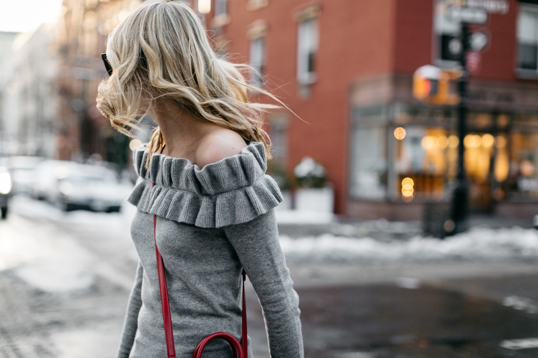 NYFW Fall/Winter 2017, Streetstyle, Club Monaco Grey Ruffle Off-the-Shoulder Sweater