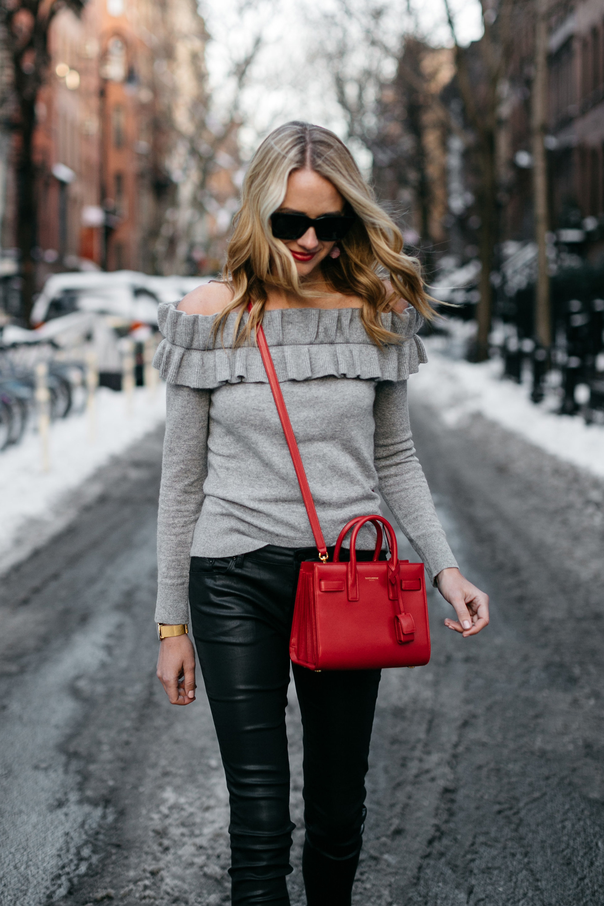 NYFW Fall/Winter 2017, Streetstyle, Club Monaco Grey Ruffle Off-the-Shoulder Sweater, Black Faux Leather Pants, Saint Laurent Sac de Jour Red