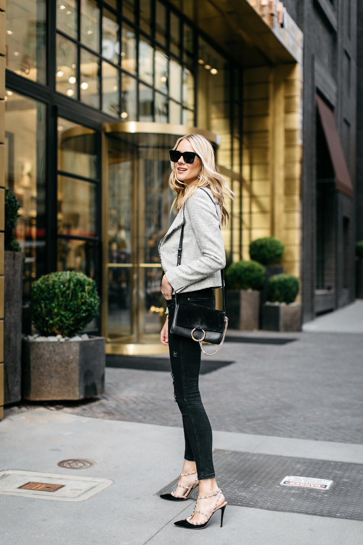 Fashion Jackson, Fringe Tweed Jacket, Black Lace Cami, Black Ripped Skinny Jeans, Valentino Rockstud Pumps, Chloe Faye Handbag