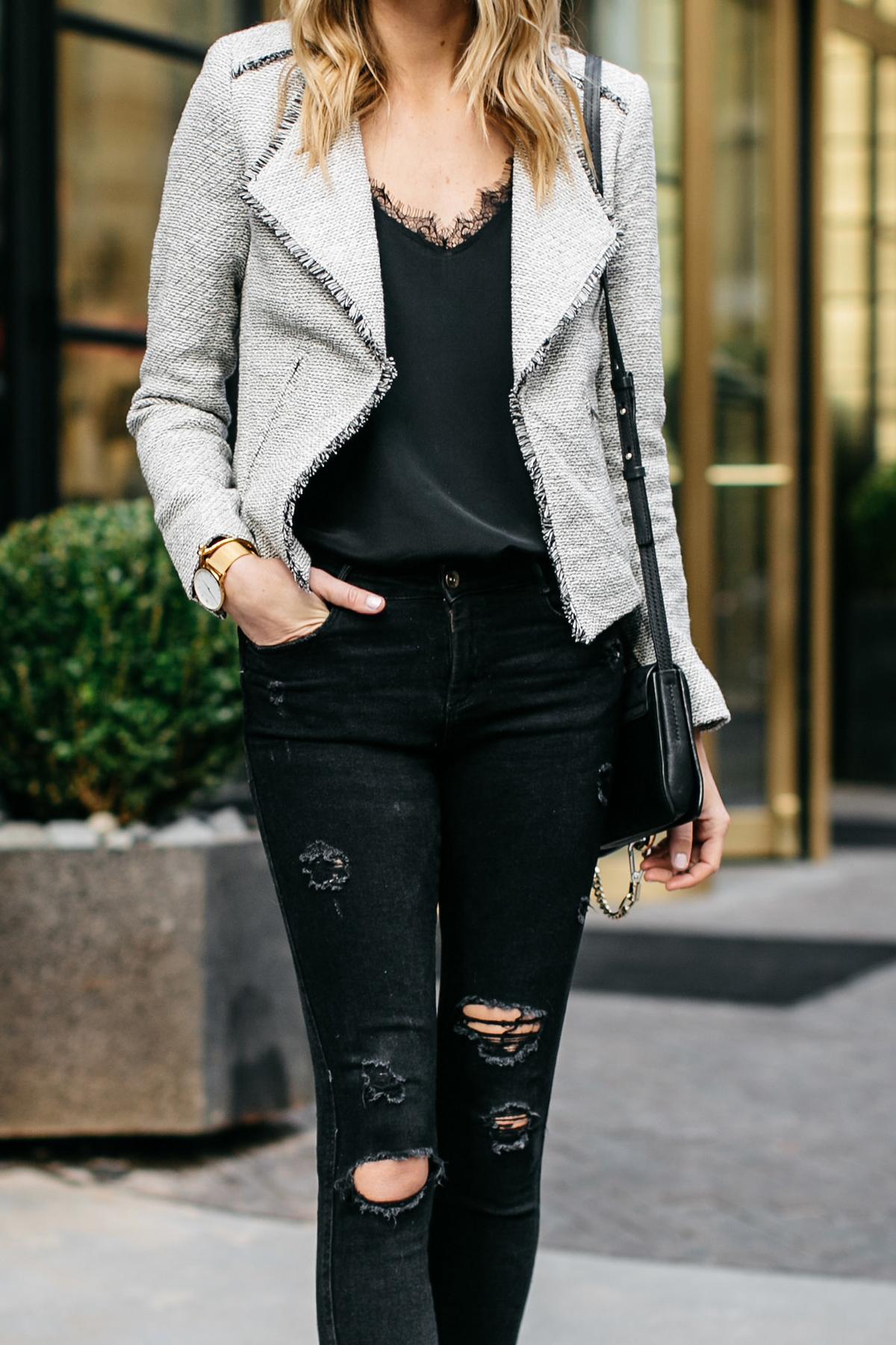 Fashion Jackson, Fringe Tweed Jacket, Black Lace Cami, Black Ripped Skinny Jeans