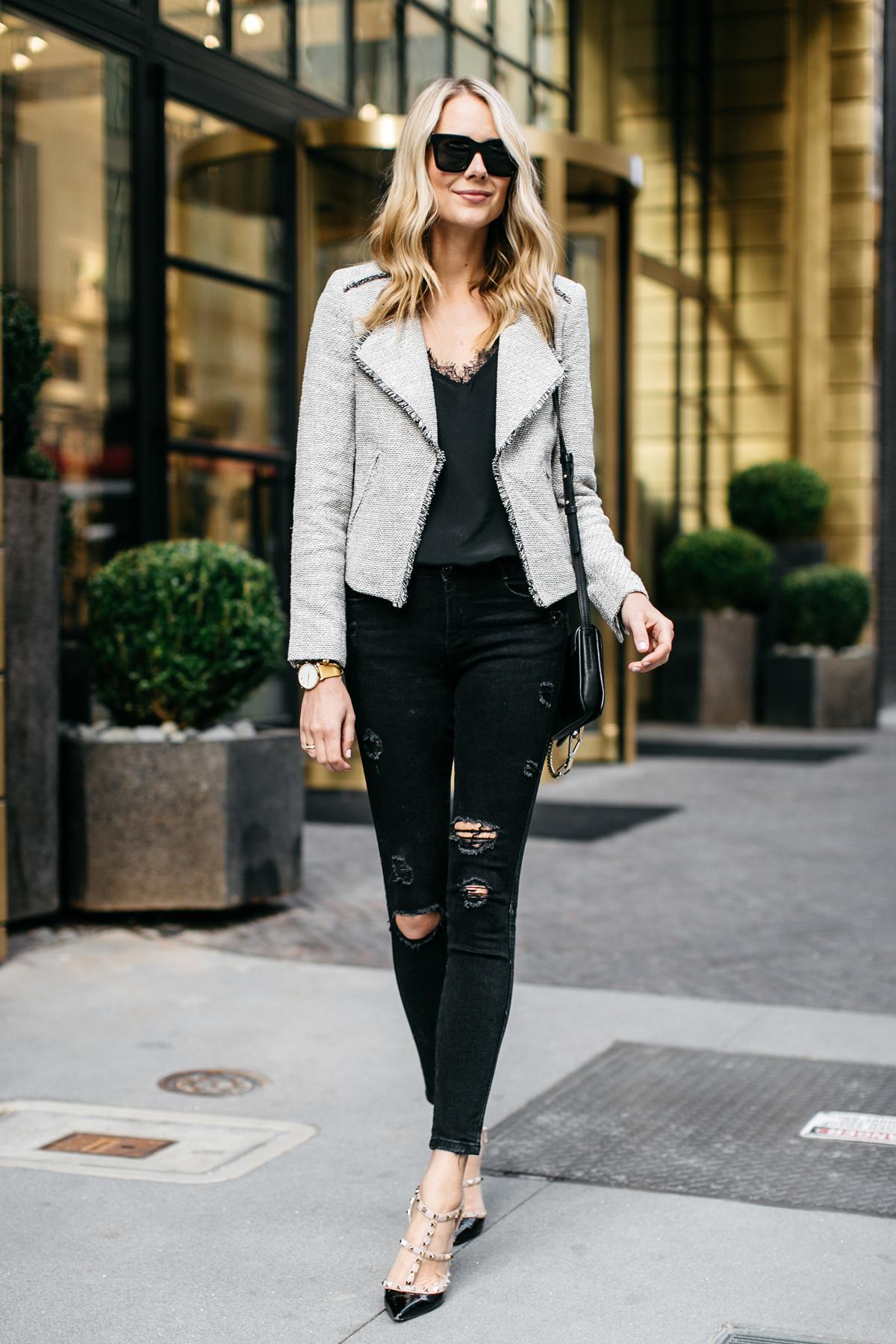 Fashion Jackson, Fringe Tweed Jacket, Black Lace Cami, Black Ripped Skinny Jeans, Valentino Rockstud Pumps