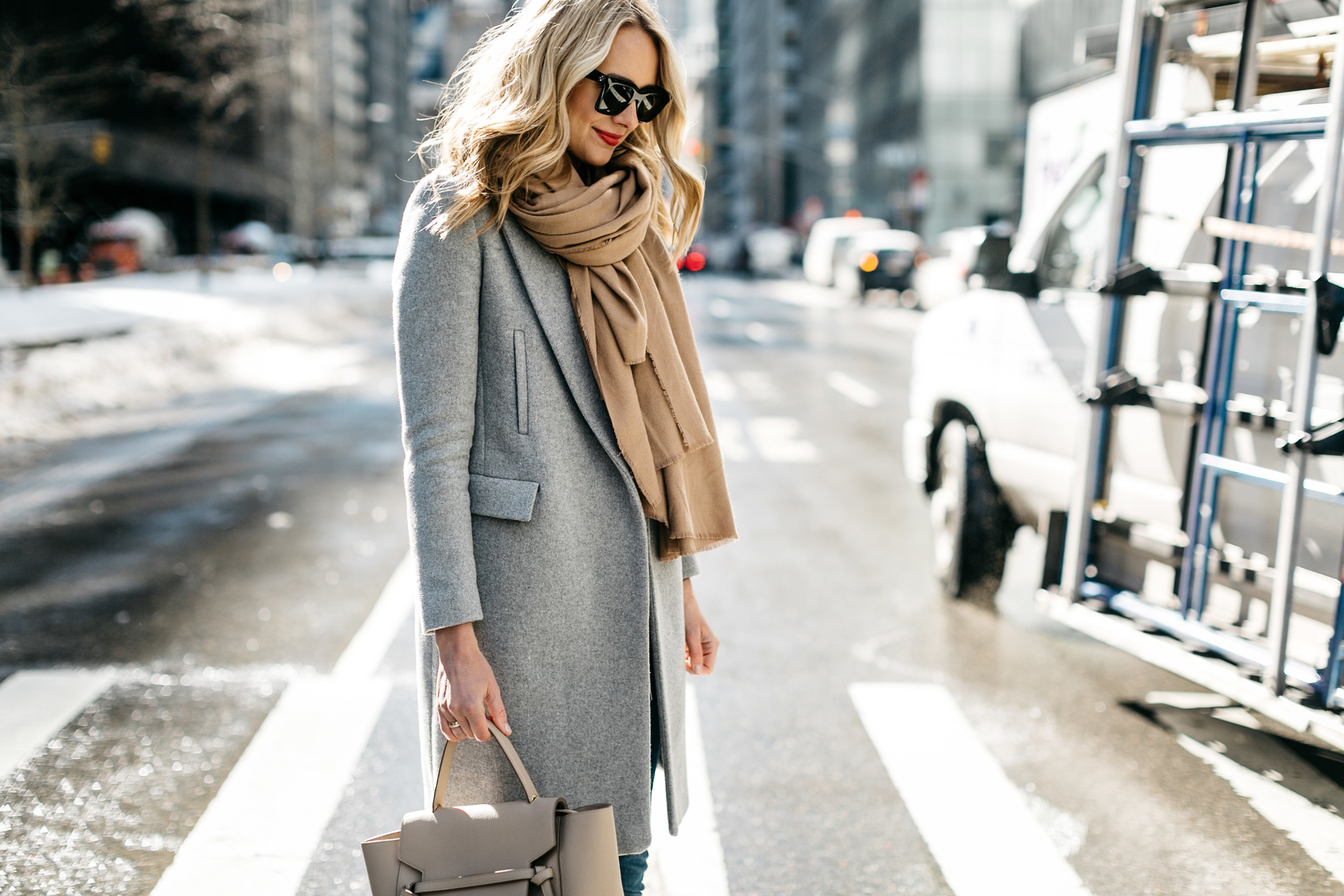 NYFW Fall/Winter 2017, Street Style, Grey Coat, Tan Blanket Scarf, Celine Tie Handbag