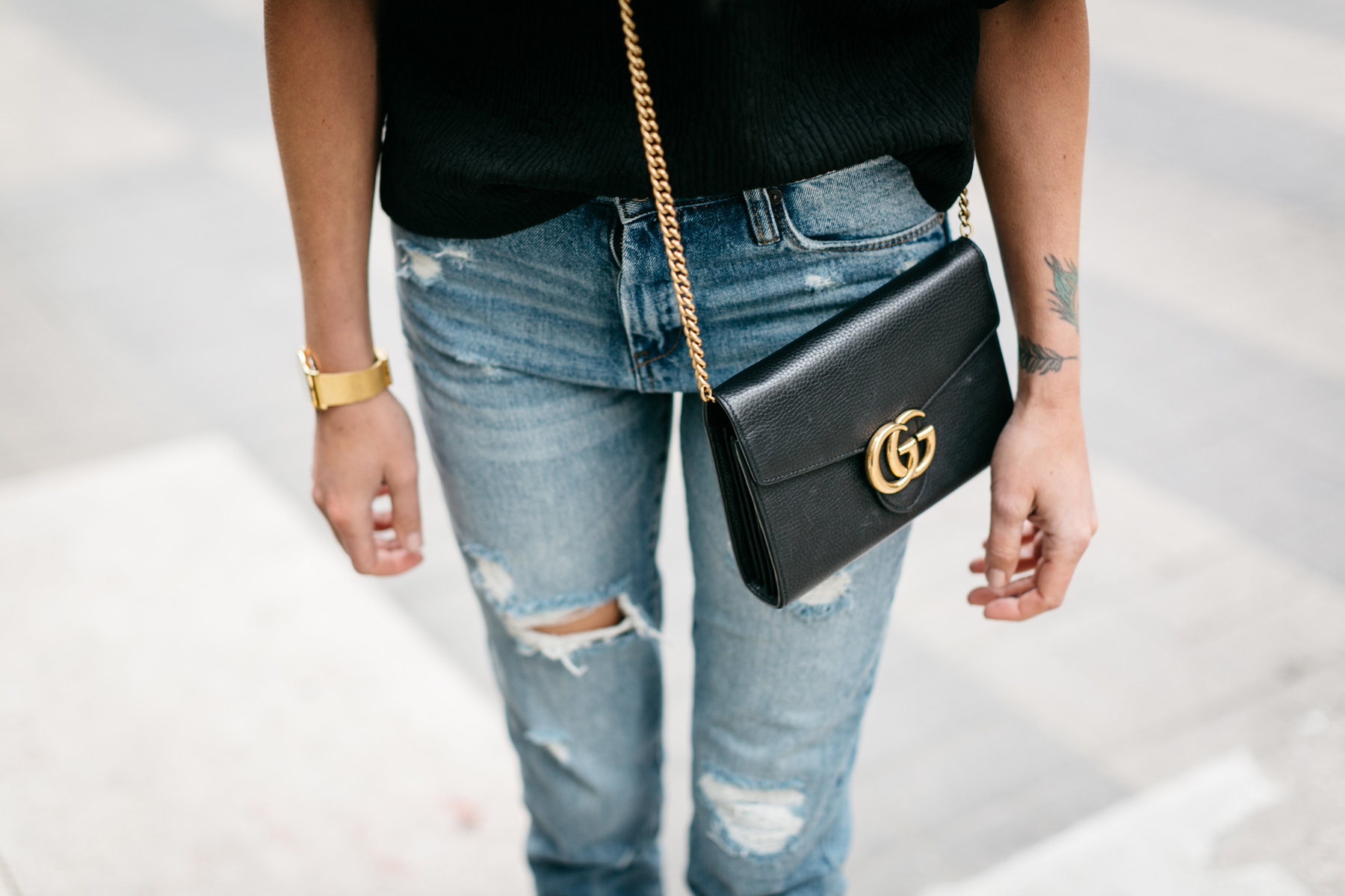 Gucci Marmont Handbag, Mom Jeans