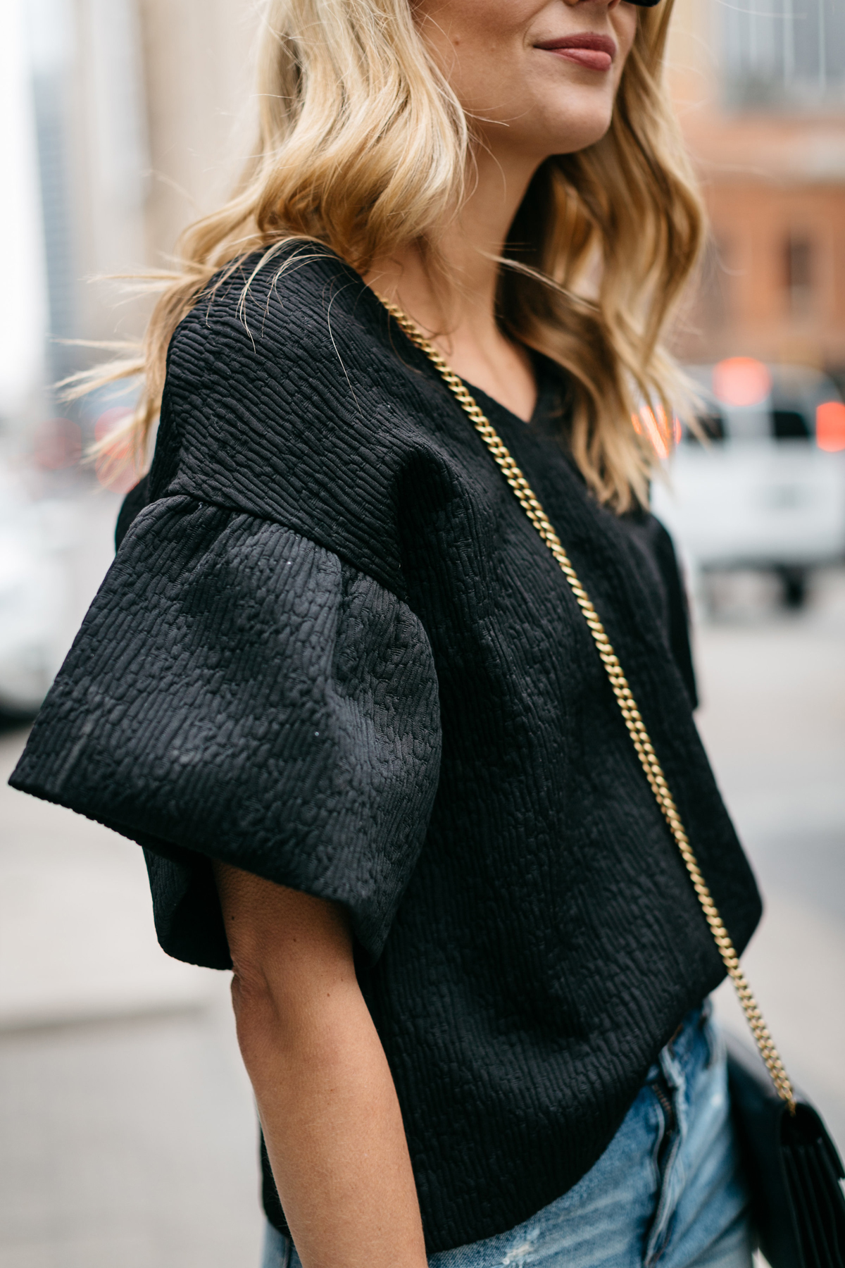 Spring Outfit, Black Ruffle Sleeve Top