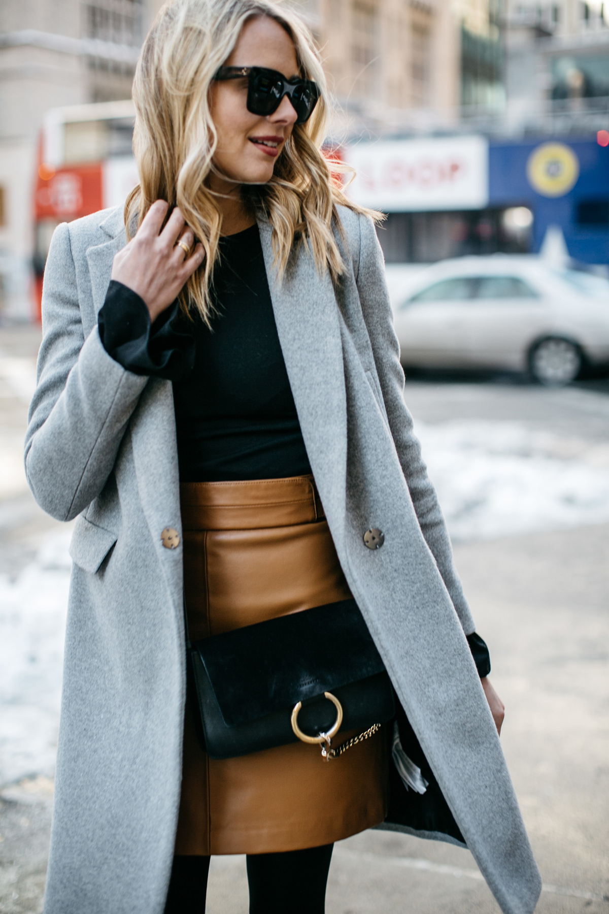 NYFW Street Style, Grey Coat, Tan Skirt, Chloe Faye Handbag, Black Booties