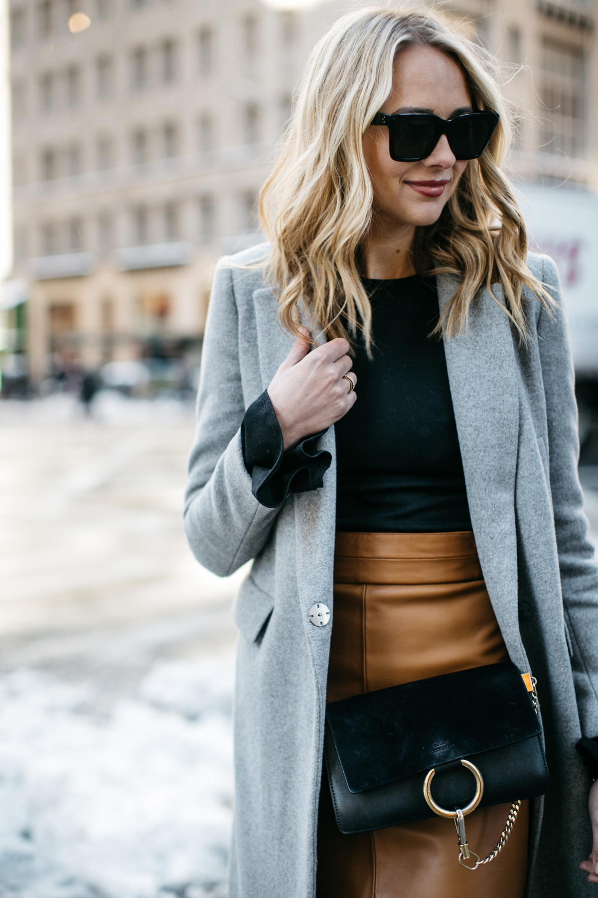 NYFW Street Style, Grey Coat, Tan Skirt, Chloe Faye Handbag, Black Booties