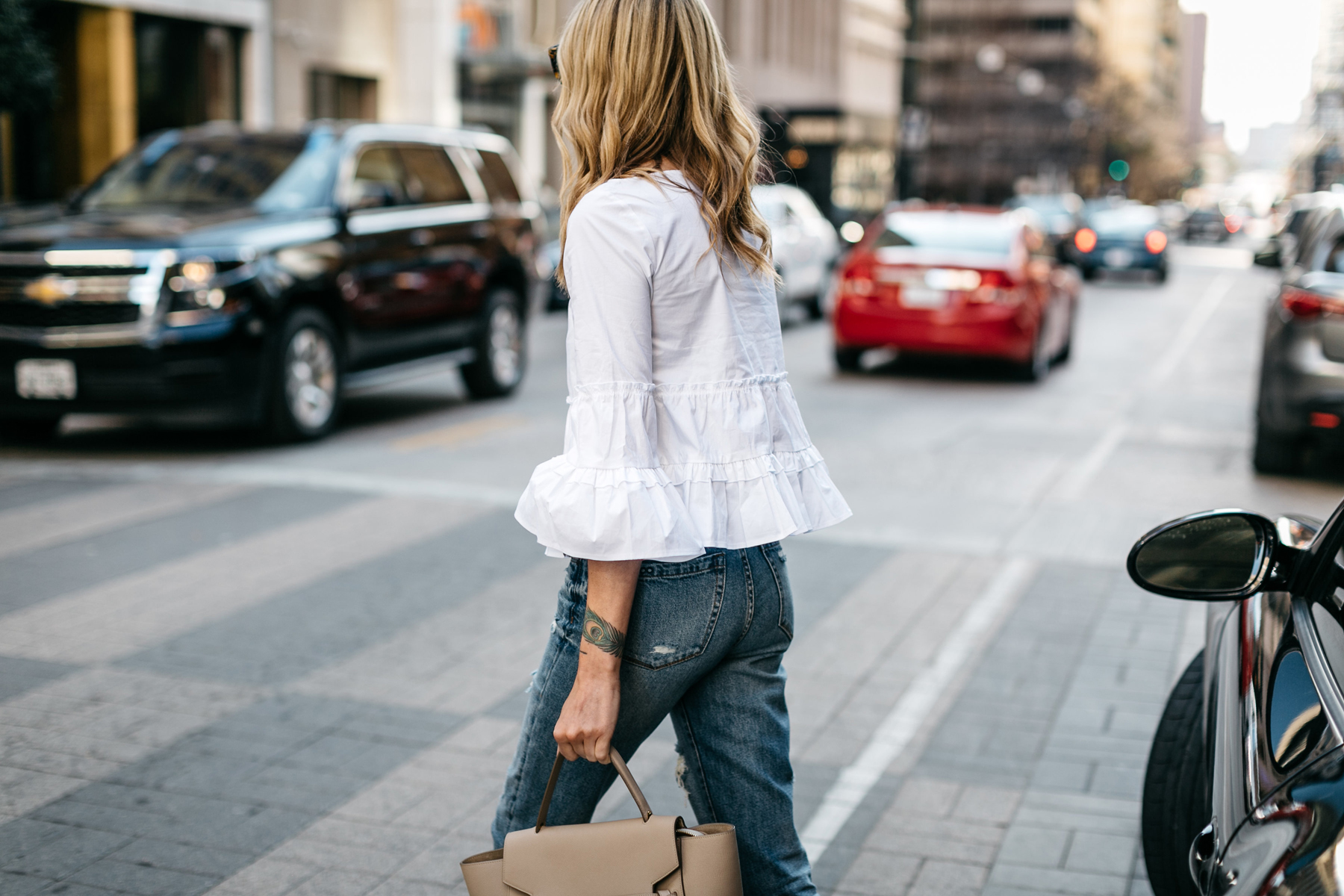 Fashion Jackson, Club Monaco White Ruffle Top, Denim Ripped Relaxed Jeans