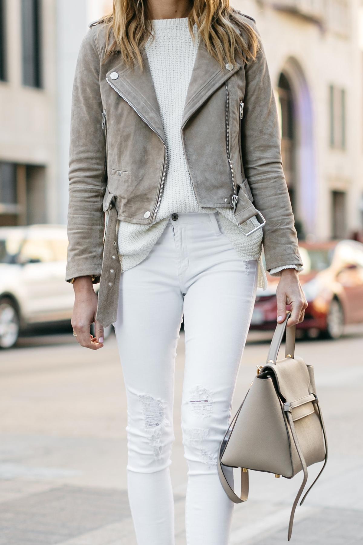 Street Style, Tan Suede Moto Jacket, James Jeans White Skinny Jeans, White Sweater, Celine Belt Bag, Nude Pumps