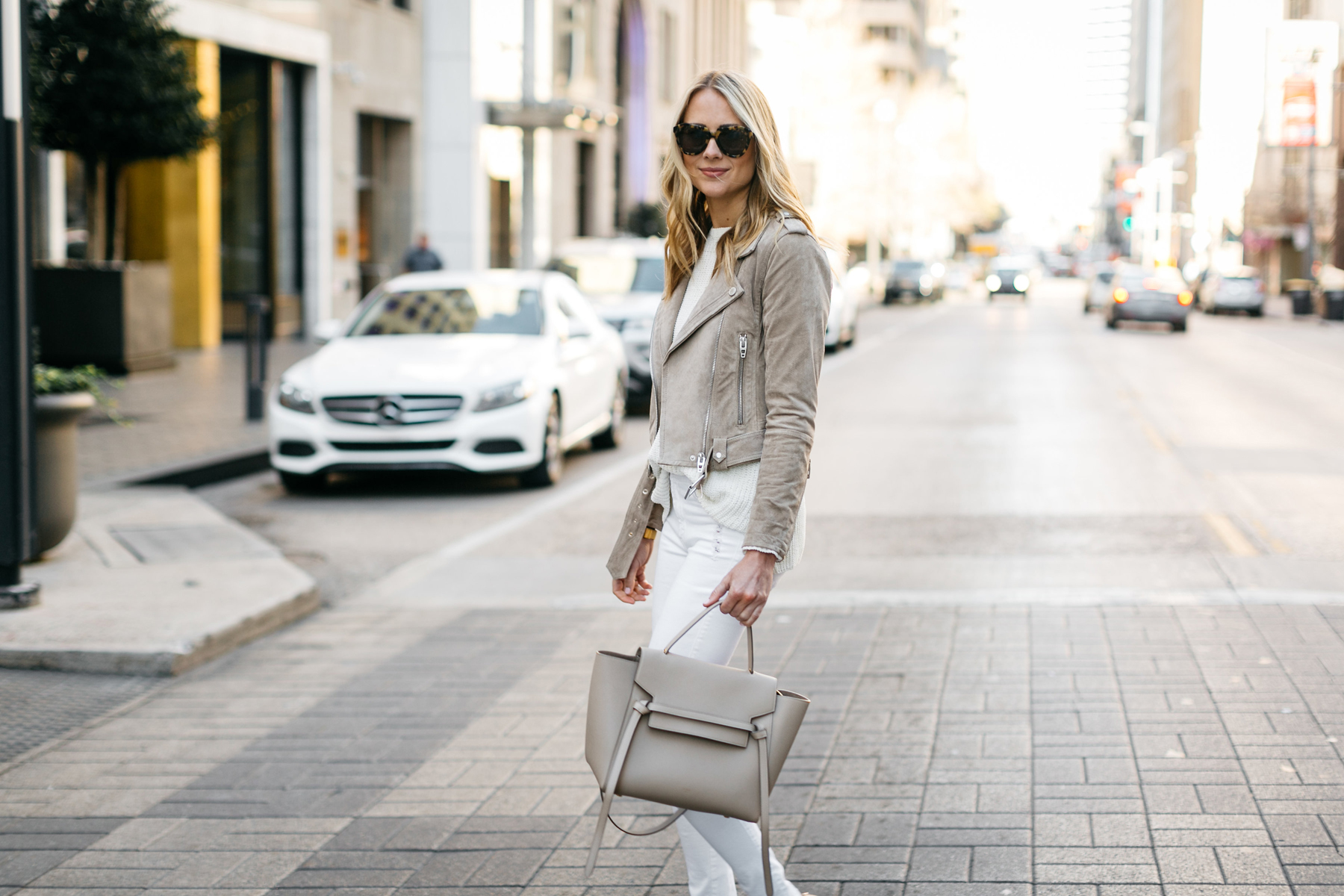 Street Style, Tan Suede Moto Jacket, James Jeans White Skinny Jeans, White Sweater, Celine Belt Bag, Nude Pumps
