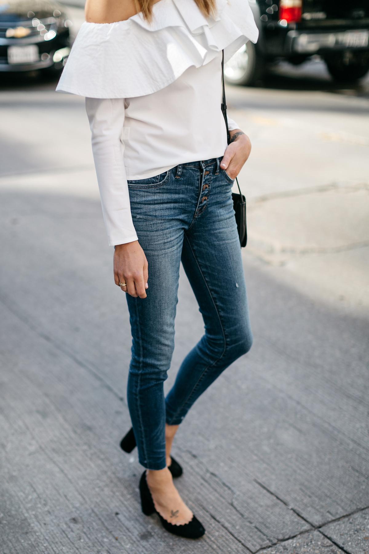 White Ruffle One Shoulder Top, Button Fly Jeans, Chloe Faye Handbag, Chloe Lauren Pumps, Fashion Jackson, Street Style Fashion