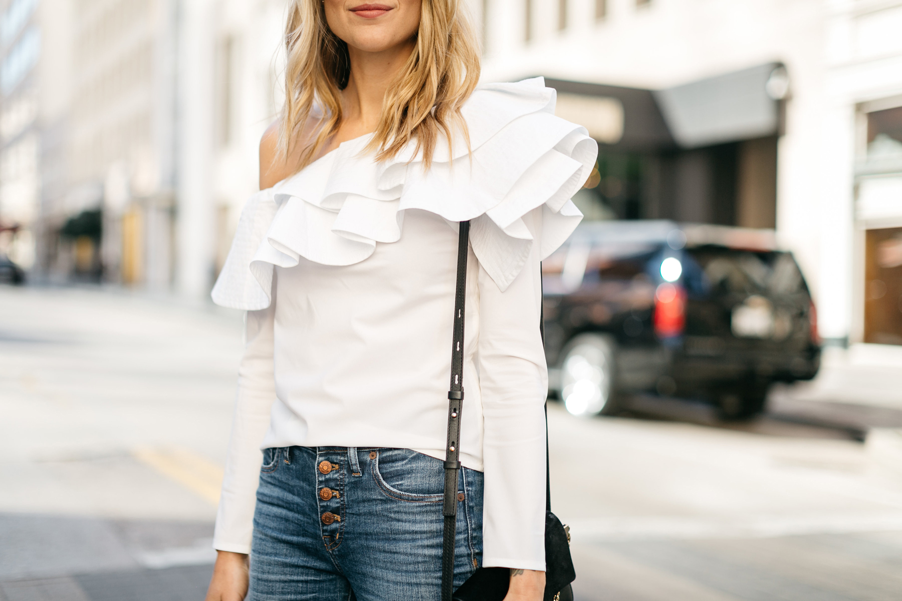 White Ruffle One Shoulder Top, Button Fly Jeans, Chloe Faye Handbag, Fashion Jackson