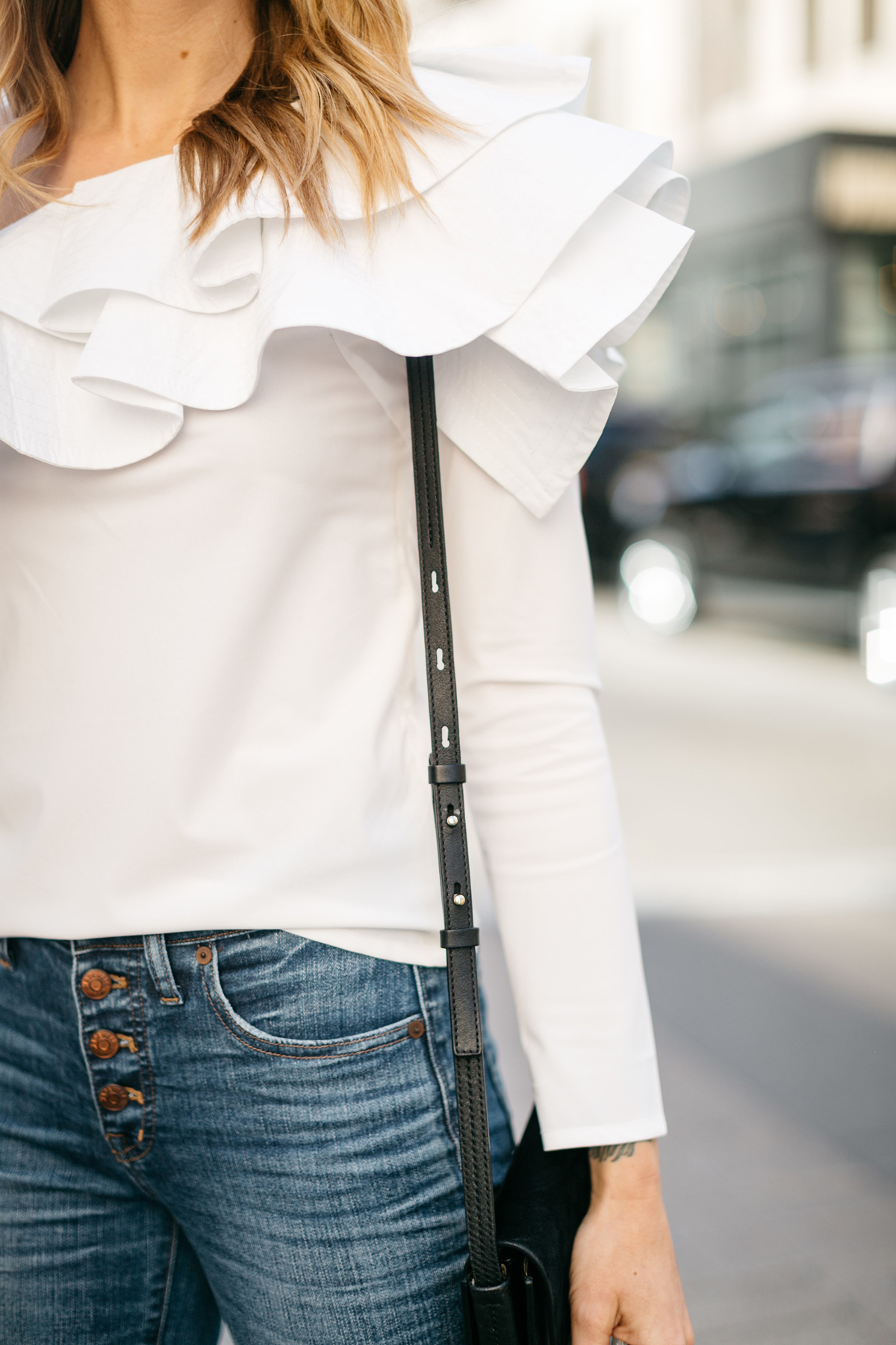 White One Shoulder Top, Button Fly Jeans, Fashion Jackson