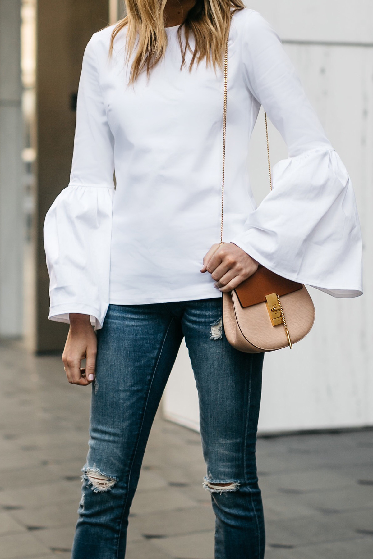 Fashion Jackson, Street Style, MLM Label Rhodes Top White, Blanknyc Denim Ripped Skinny Jeans, Chloe Drew Handbag