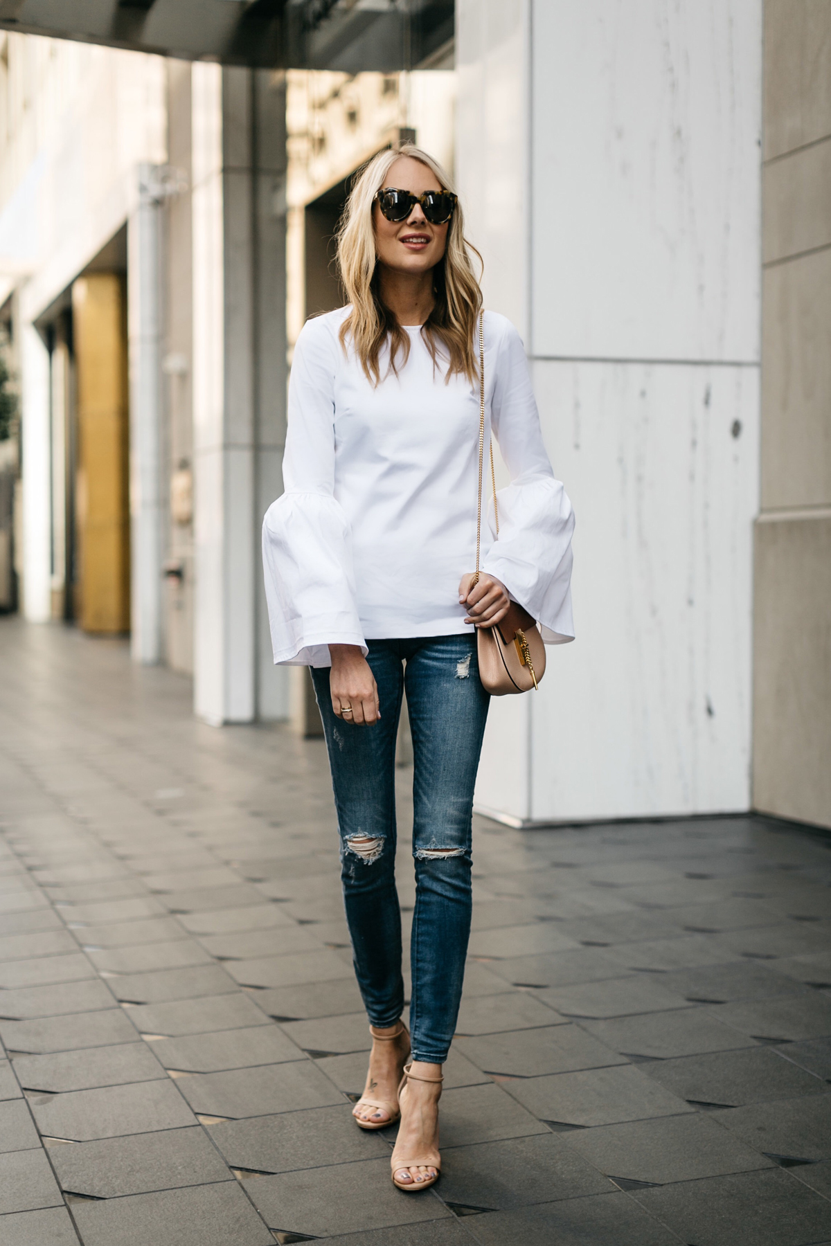 Fashion Jackson, Street Style, MLM Label Rhodes Top White, Blanknyc Denim Ripped Skinny Jeans, Chloe Drew Handbag, Steve Madden Stecy Heels Nude