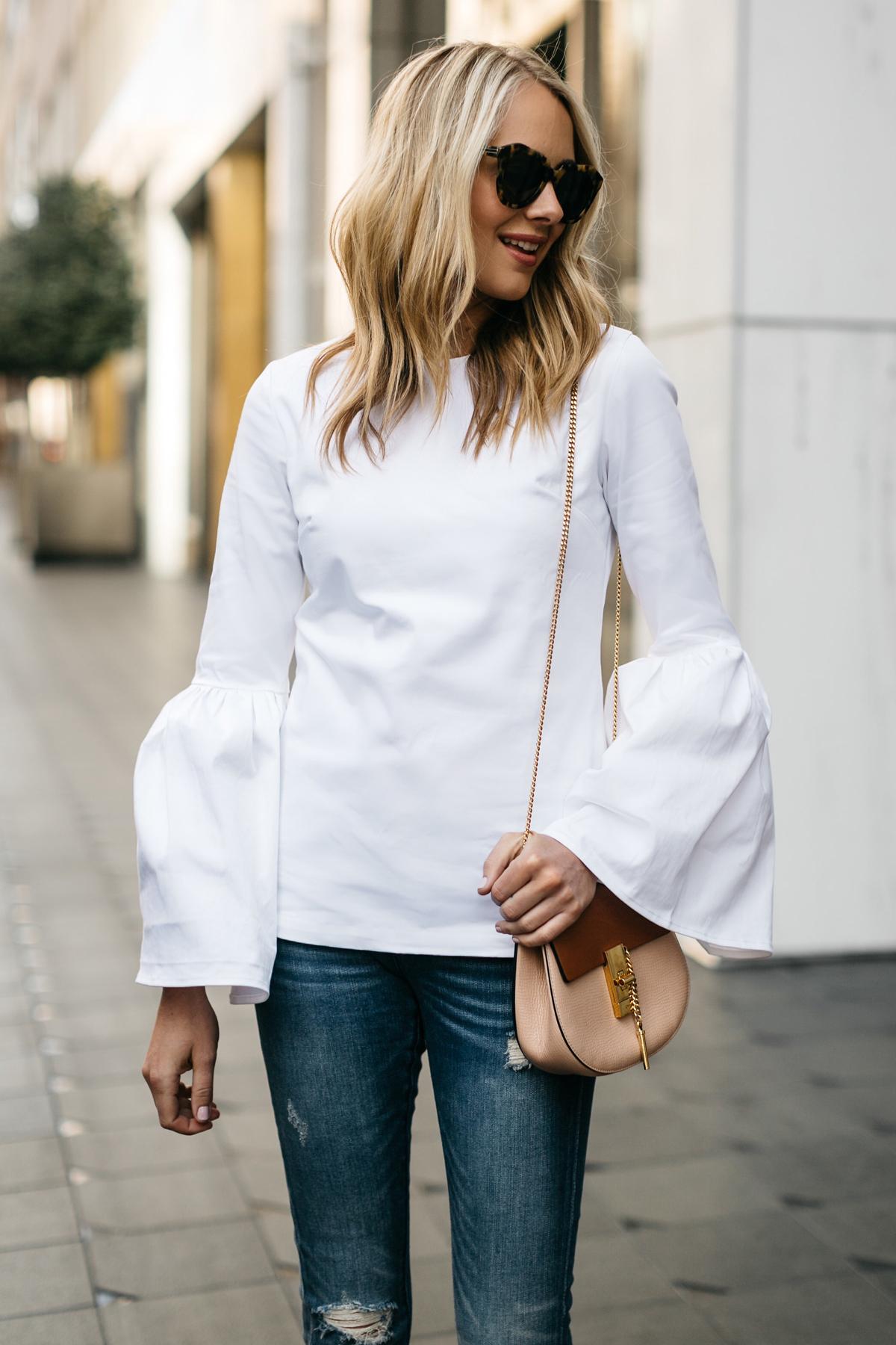 Fashion Jackson, Street Style, MLM Label Rhodes Top White, Blanknyc Denim Ripped Skinny Jeans, Chloe Drew Handbag