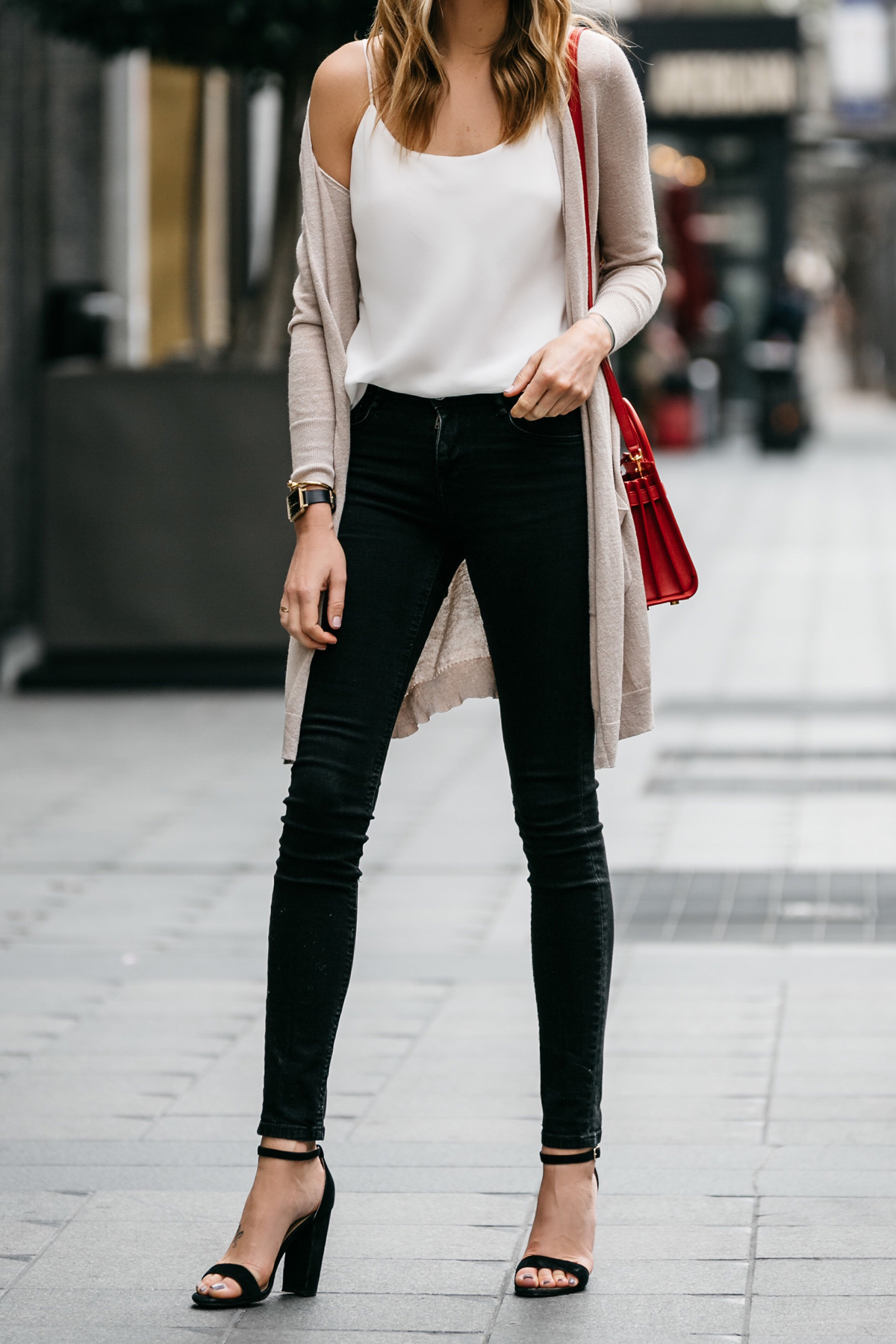 Fashion Jackson, Street Style, Beige Long Cardigan, Club Monaco White Cami, Black Skinny Jeans, Saint Laurent Nano Sac De Jour Red, Steve Madden Carrson Black Ankle Strap Heels