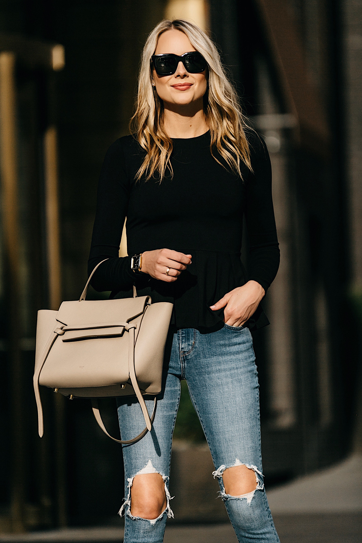Fashion Jackson, Dallas Blogger, Street Style, Susana Monaco Ava Top, Black Peplum Top, Levis 721 High Rise Distressed Skinny Jeans, Marc Fisher Zala Pumps, Celine Belt Bag