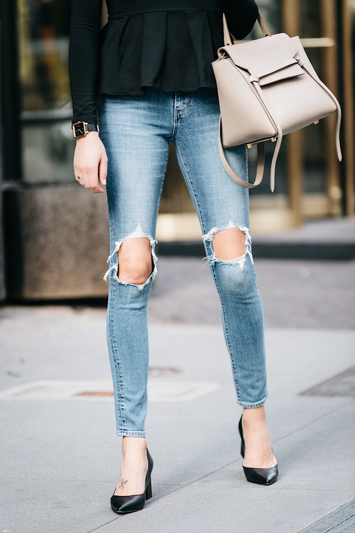 Fashion Jackson, Dallas Blogger, Street Style, Susana Monaco Ava Top, Black Peplum Top, Levis 721 High Rise Distressed Skinny Jeans, Marc Fisher Zala Pumps, Black Block Heel Pumps, Celine Belt Bag