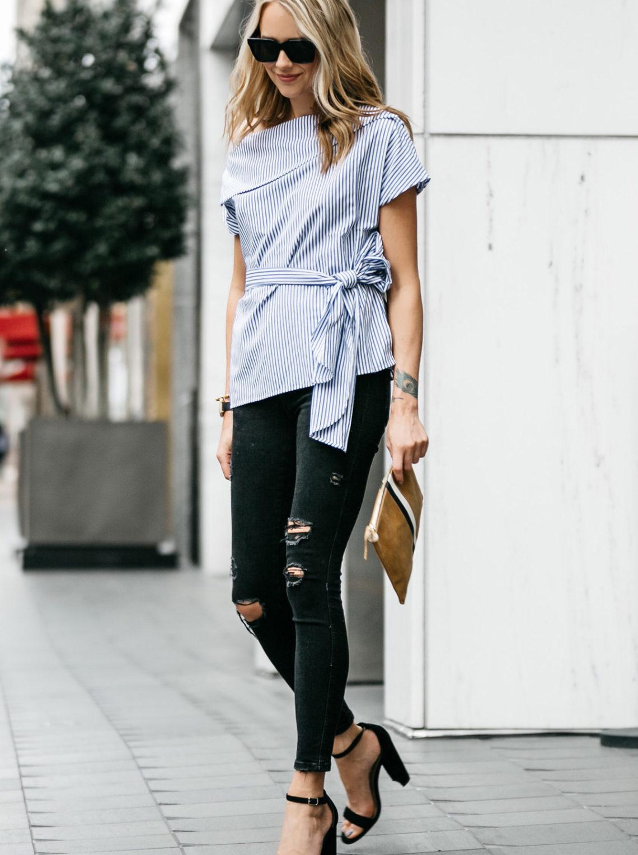 Fashion Jackson, Dallas Blogger, Street Style, Blue & White Stripe Off-the-Shoulder Top, Black Ripped Skinny Jeans, Clare V Stripe Flat Clutch, Steve Madden Carrson Sandals, Black Ankle Strap Sandal Heels