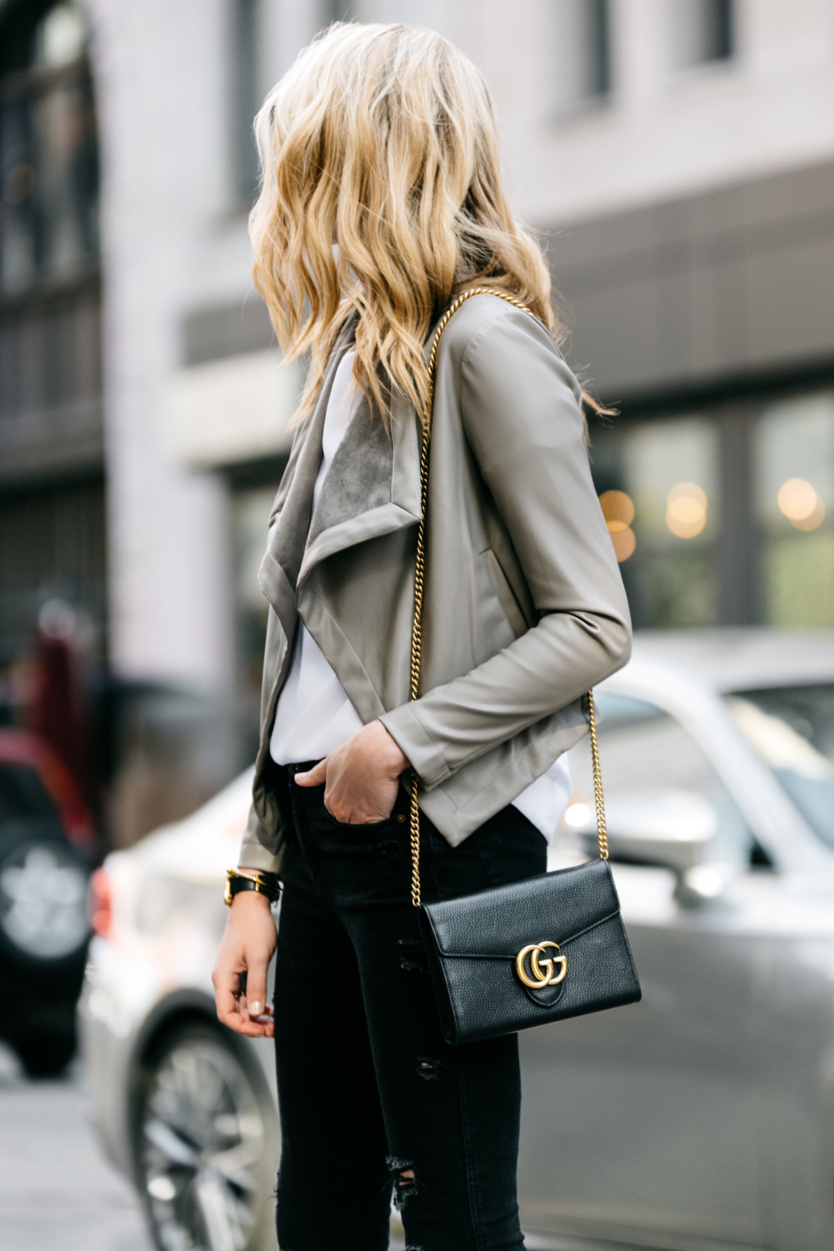 Fashion Jackson, Dallas Blogger, Fashion Blogger, Street Style, BB Dakota Peppin Jacket, White Top, Black Ripped Skinny Jeans, Gucci Marmont Handbag