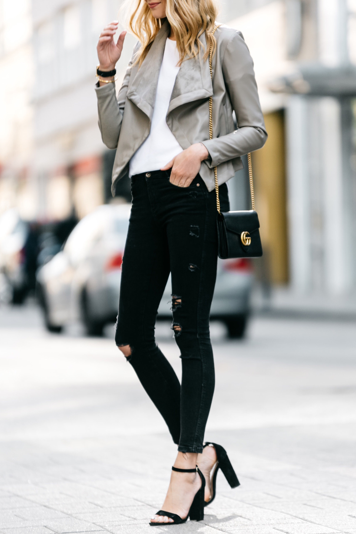Fashion Jackson, Dallas Blogger, Fashion Blogger, Street Style, BB Dakota Peppin Jacket, White Top, Black Ripped Skinny Jeans, Gucci Marmont Handbag, Steve Madden Carrson Sandals, Black Ankle Strap Heeled Sandals