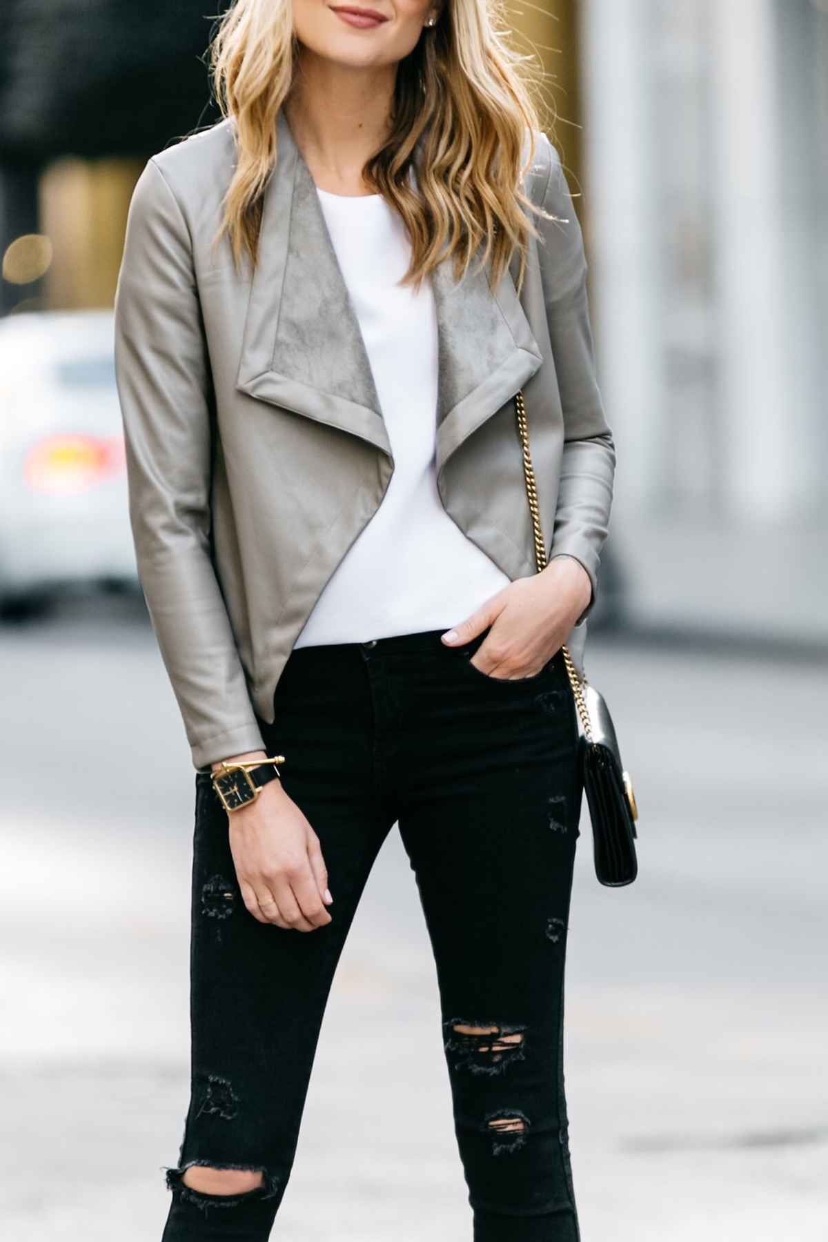 Fashion Jackson, Dallas Blogger, Fashion Blogger, Street Style, BB Dakota Peppin Jacket, White Top, Black Ripped Skinny Jeans