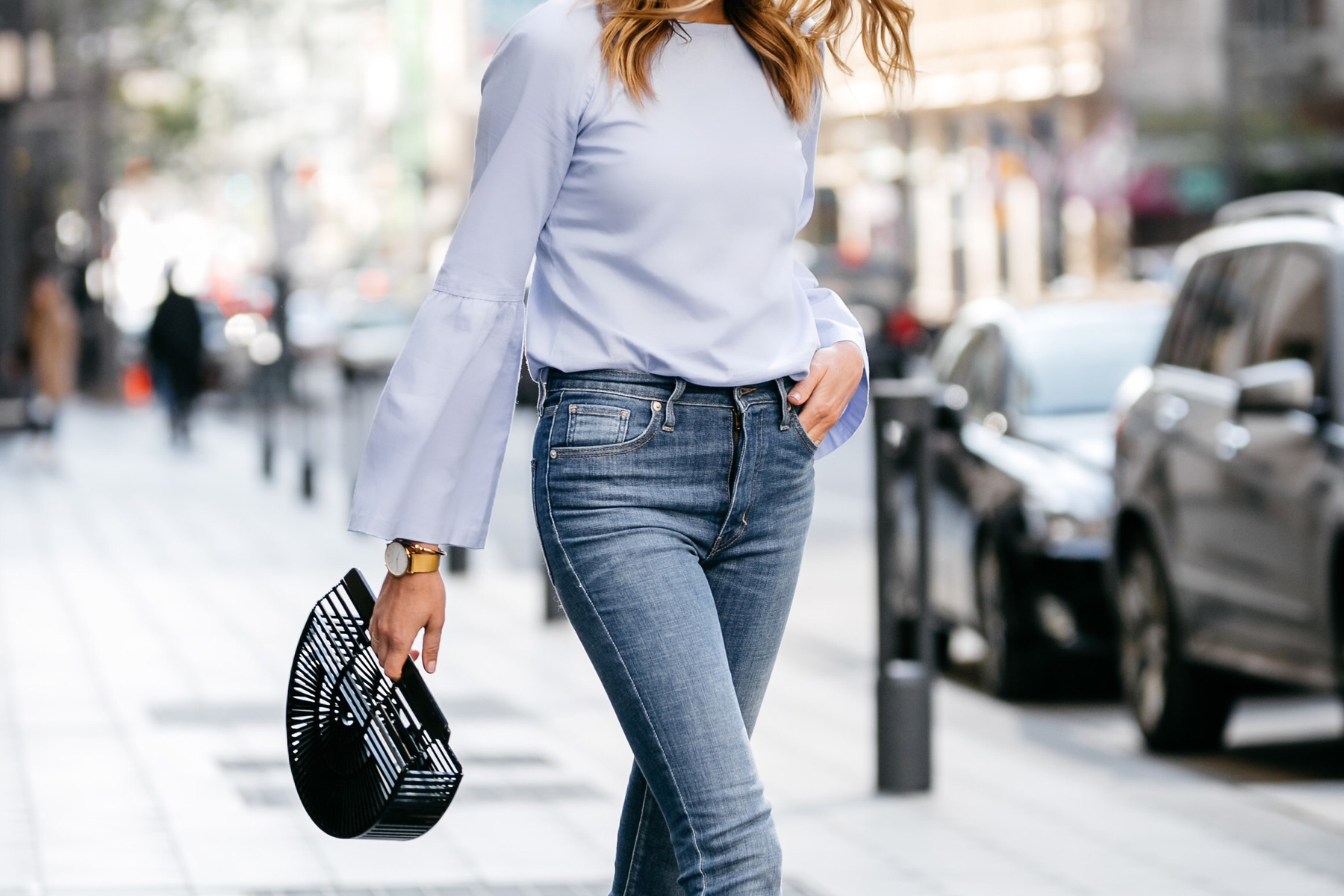 Fashion Jackson, Street Style, Blue Bell Sleeve Top, Levi's Mile High Skinny Jeans, Cult Gaia Black Acrylic Ark Clutch