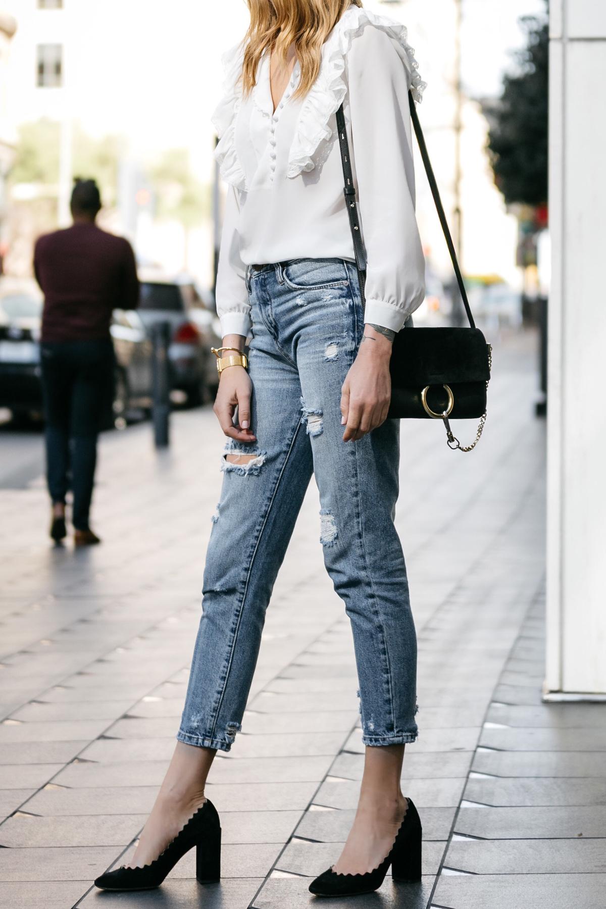 Fashion Jackson, Dallas Blogger, Fashion Blogger, Street Style, Rebecca Taylor White Long Sleeve Silk Ruffle Top, BlankNYC Ripped Denim Mom Jeans, Chloe Lauren Scalloped Pumps, Chloe Faye Handbag