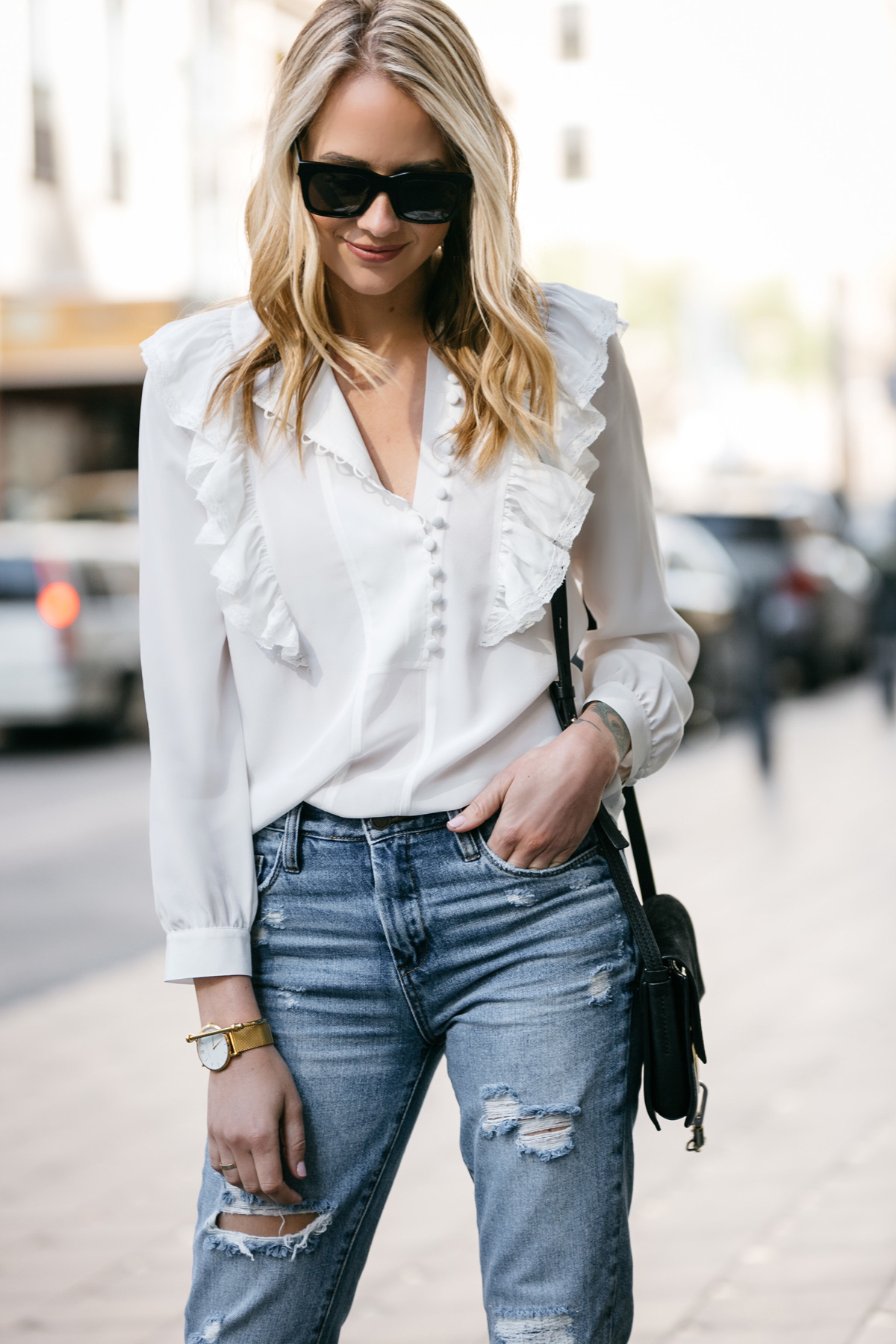 Fashion Jackson, Dallas Blogger, Fashion Blogger, Street Style, Rebecca Taylor White Long Sleeve Silk Ruffle Top, BlankNYC Ripped Denim Mom Jeans, Chloe Faye Handbag