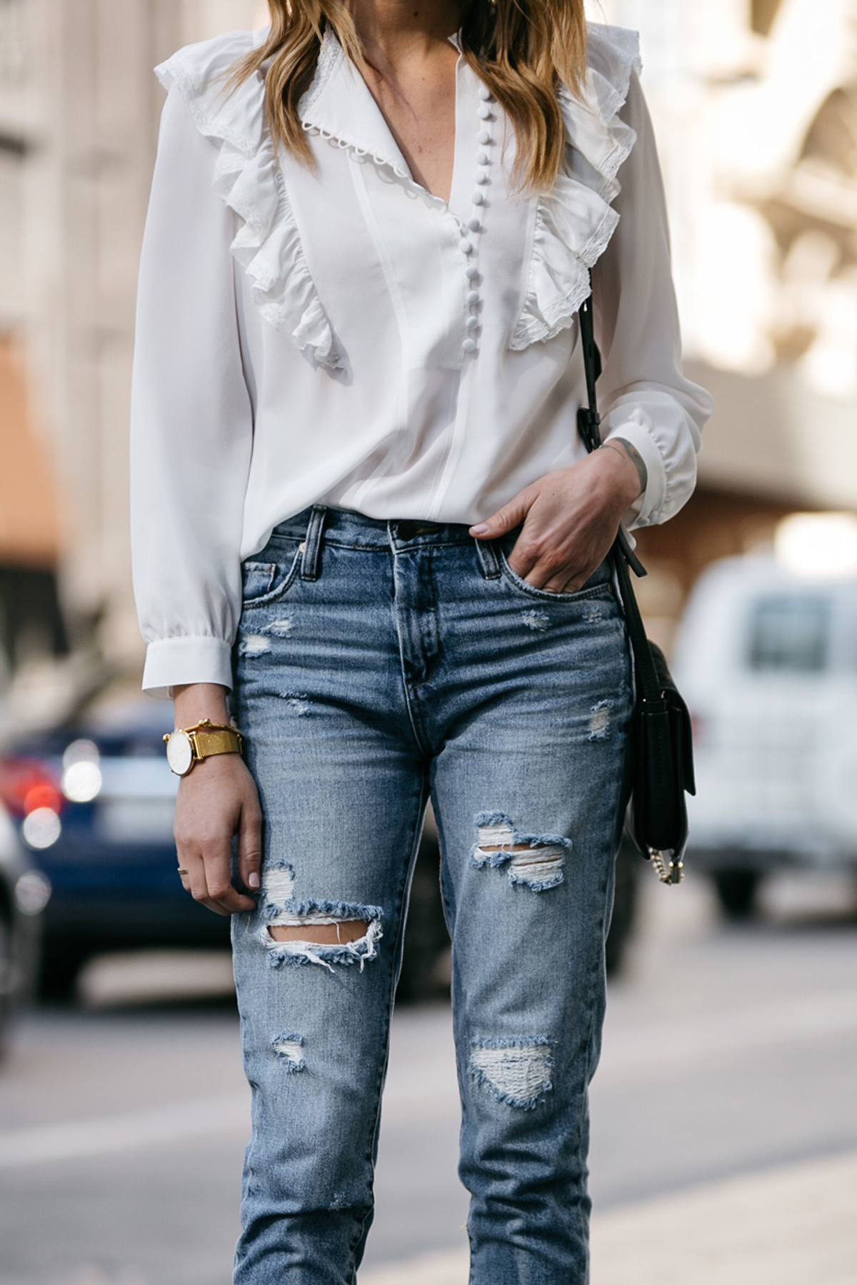 Fashion Jackson, Dallas Blogger, Fashion Blogger, Street Style, Rebecca Taylor White Long Sleeve Silk Ruffle Top, BlankNYC Ripped Denim Mom Jeans