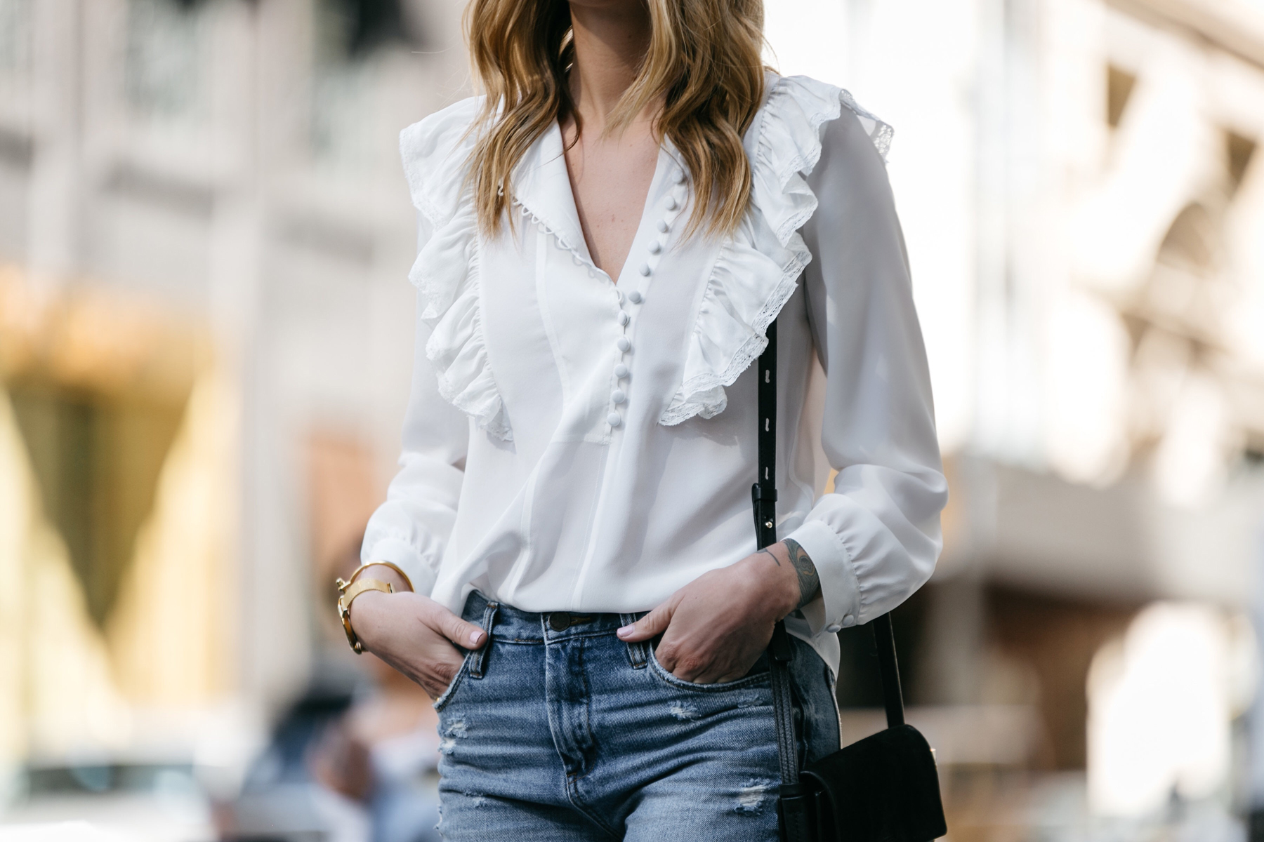 Fashion Jackson, Dallas Blogger, Fashion Blogger, Street Style, Rebecca Taylor White Long Sleeve Silk Ruffle Top
