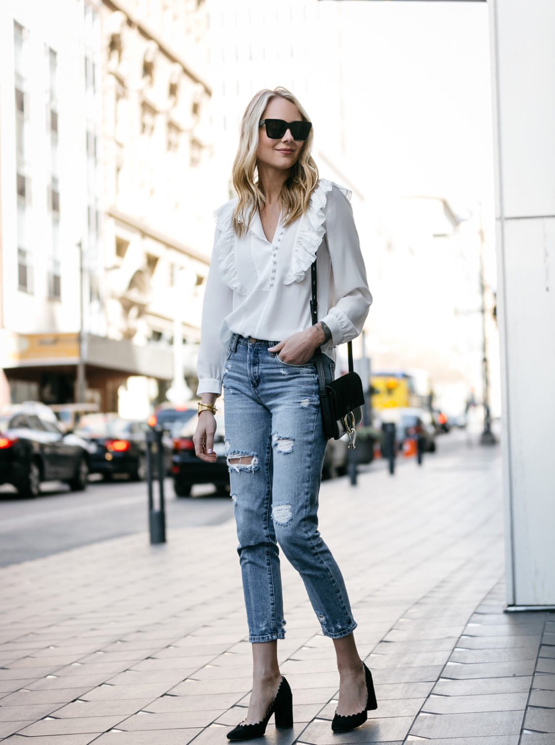 Fashion Jackson, Dallas Blogger, Fashion Blogger, Street Style, Rebecca Taylor White Long Sleeve Silk Ruffle Top, BlankNYC Ripped Denim Mom Jeans, Chloe Lauren Scalloped Pumps, Chloe Faye Handbag