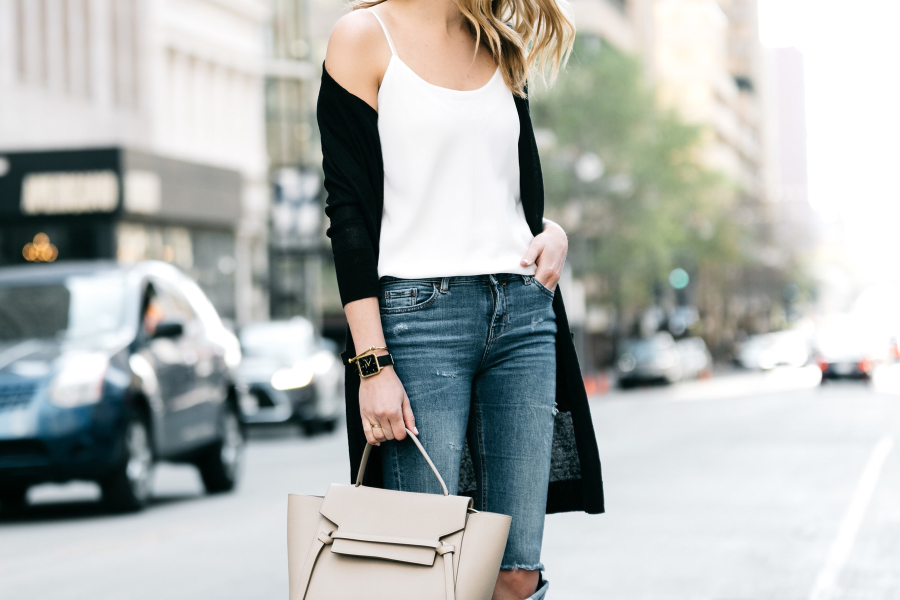 Fashion Jackson, Dallas Blogger, Fashion Blogger, Street Style, Nordstrom Long Black Cardigan, Club Monaco White Cami, Zara Denim Ripped Skinny Jeans, Celine Belt Bag