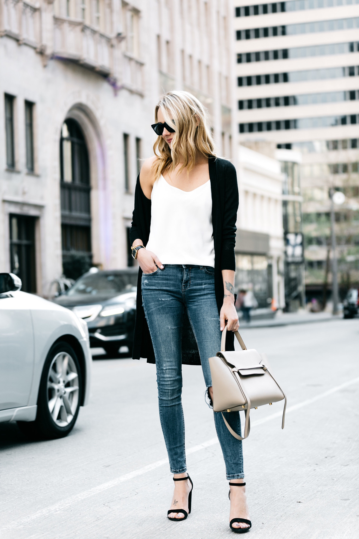 Fashion Jackson, Dallas Blogger, Fashion Blogger, Street Style, Nordstrom Long Black Cardigan, Club Monaco White Cami, Zara Denim Ripped Skinny Jeans, Celine Belt Bag, Steve Madden Carrson Black Ankle Strap Heeled Sandals