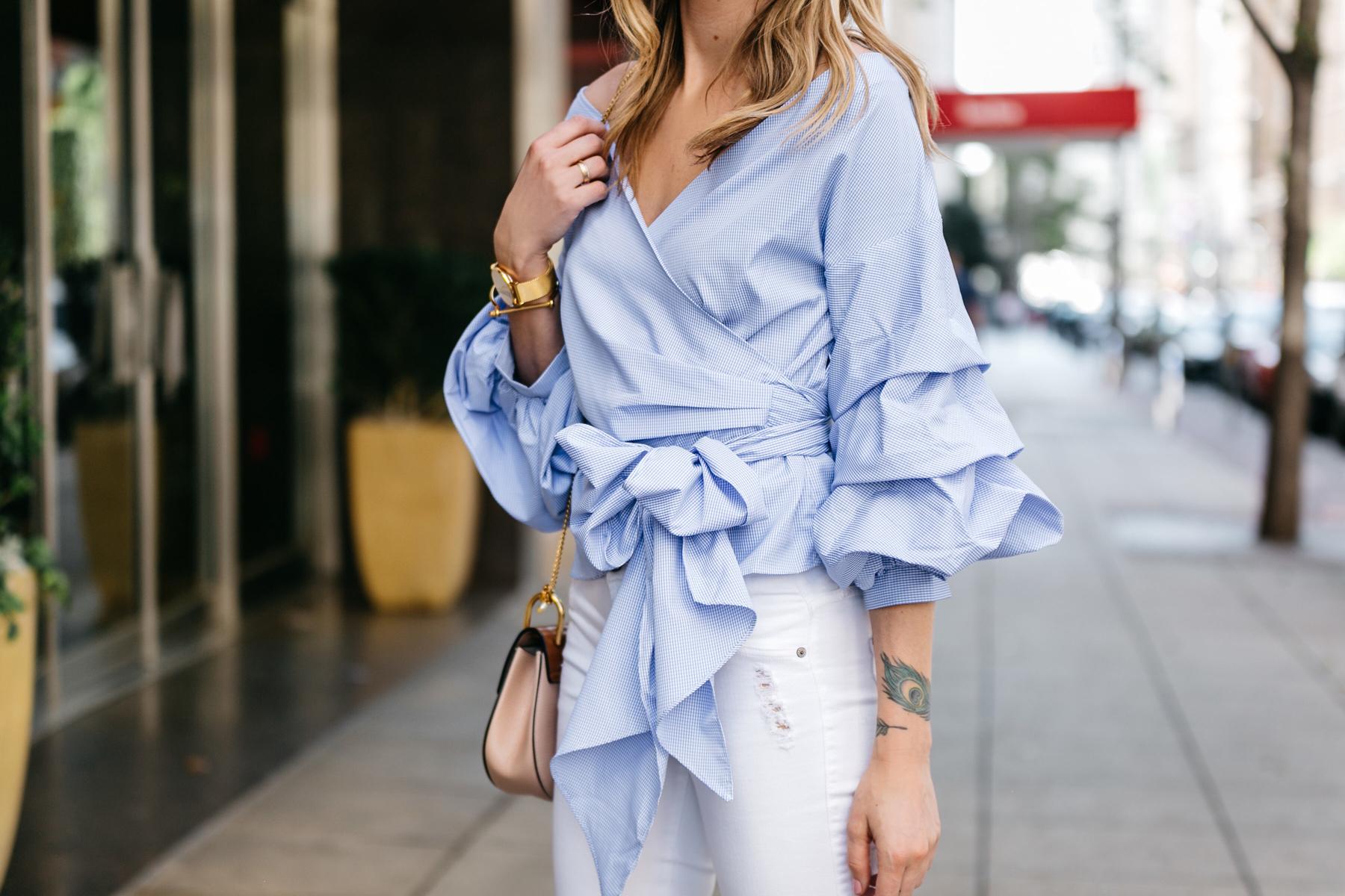 Fashion Jackson, Dallas Blogger, Fashion Blogger, Street Style, Blue Ruffle Sleeve Top, James Jeans White Skinny Jeans, Chloe Drew Blush Handbag