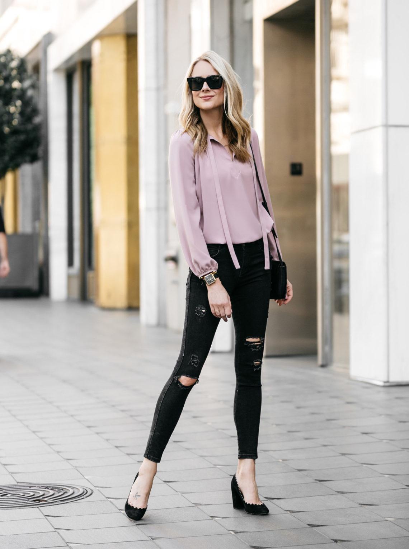 Fashion Jackson, Dallas Blogger, Fashion Blogger, Street Style, Pink Tie Front Top, Zara Black Ripped Skinny Jeans, Black Scalloped Pumps, Chloe Lauren Black Pumps, Chloe Faye Handbag
