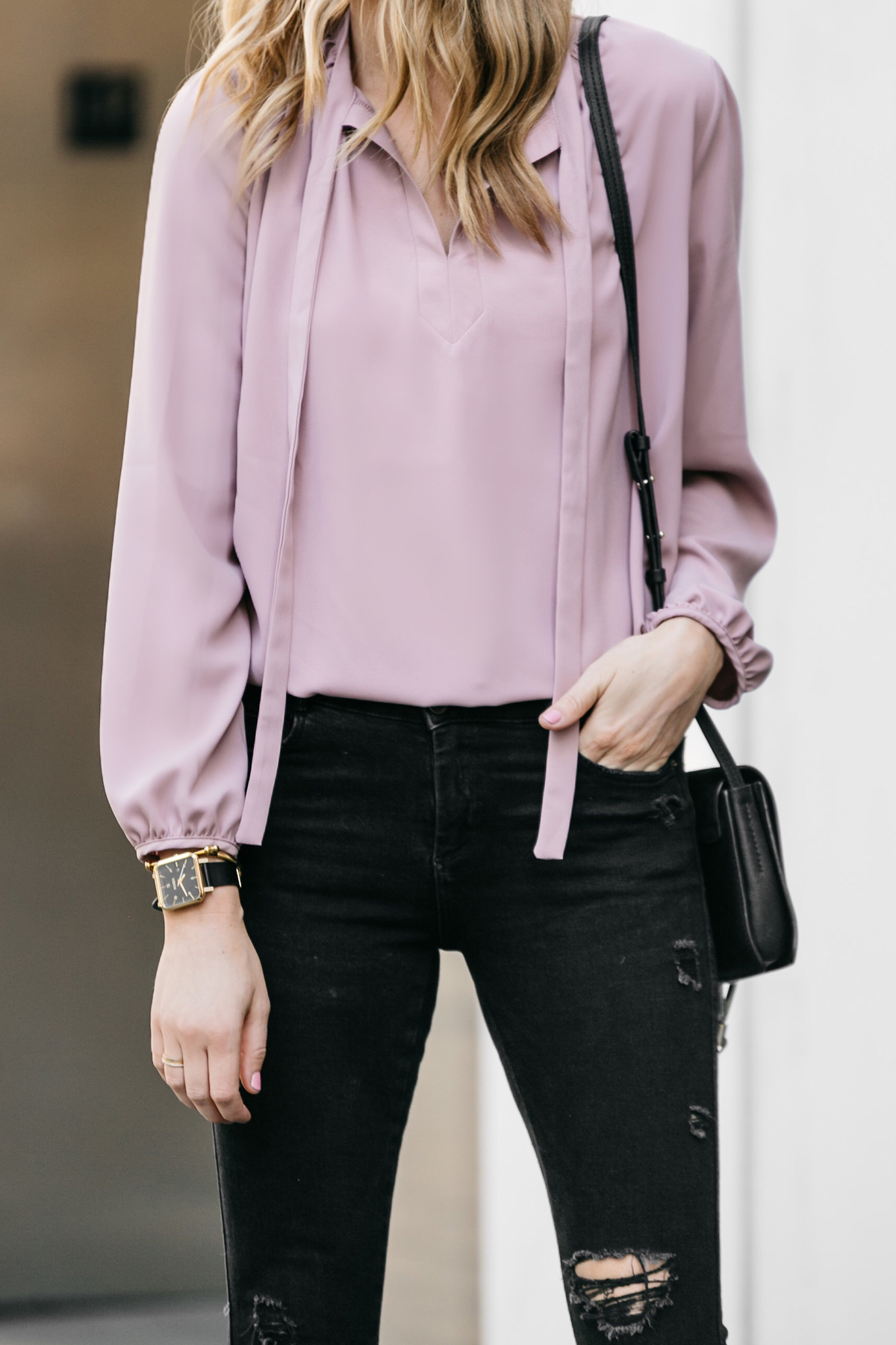 Fashion Jackson, Dallas Blogger, Fashion Blogger, Street Style, Pink Tie Front Top, Zara Black Ripped Skinny Jeans, Chloe Faye Handbag