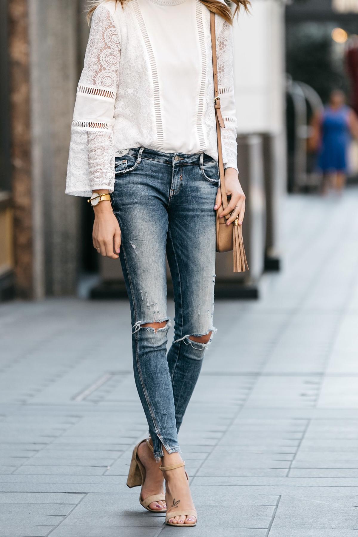 Fashion Jackson, Dallas Blogger, Fashion Blogger, Street Style, Mink Pink White Lace Top, Zara Denim Ripped Skinny Jeans, Gucci Soho Disco Handbag, Steve Madden Carrson Heeled Sandals
