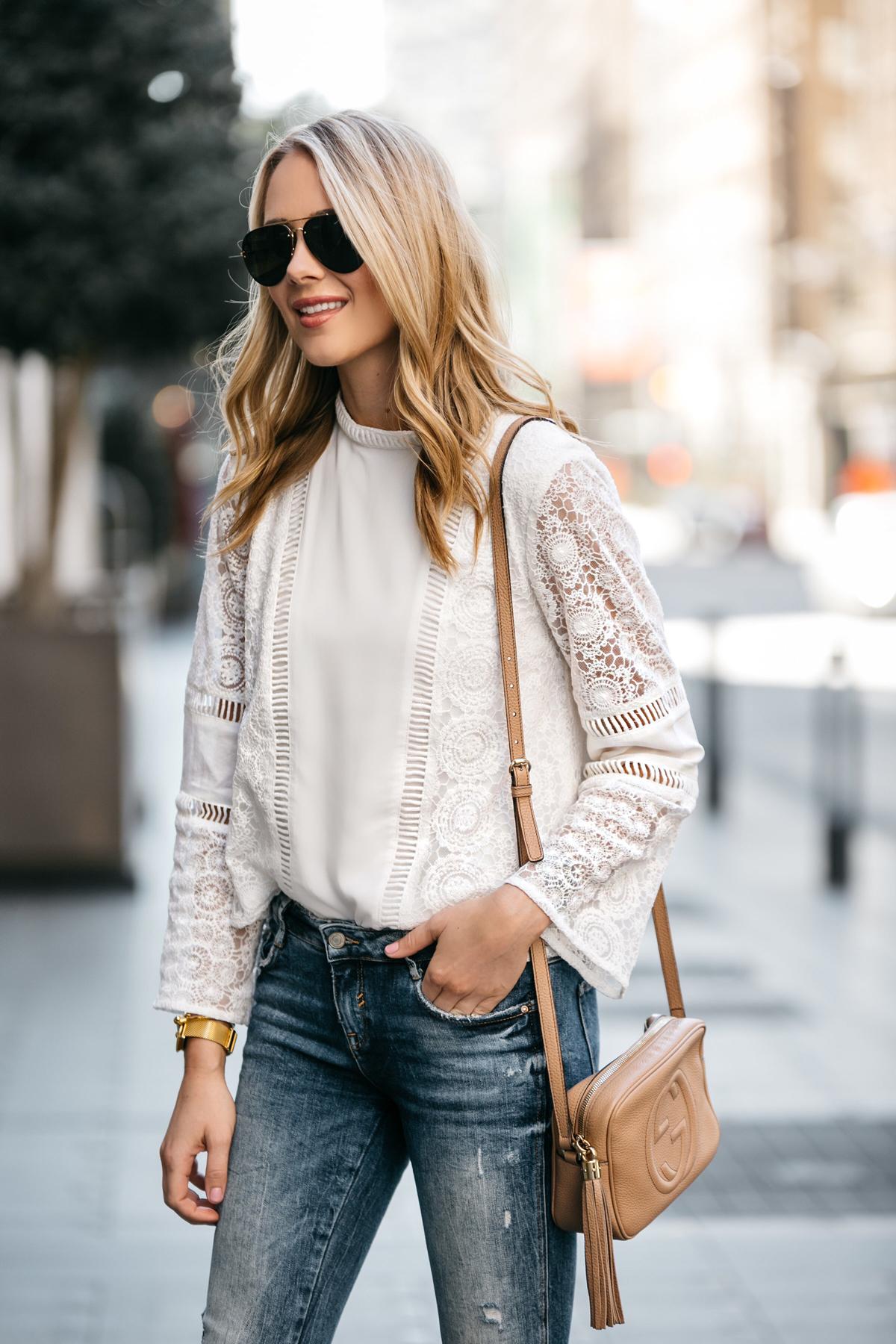 Fashion Jackson, Dallas Blogger, Fashion Blogger, Street Style, Mink Pink White Lace Top, Zara Denim Ripped Skinny Jeans, Gucci Soho Disco Handbag