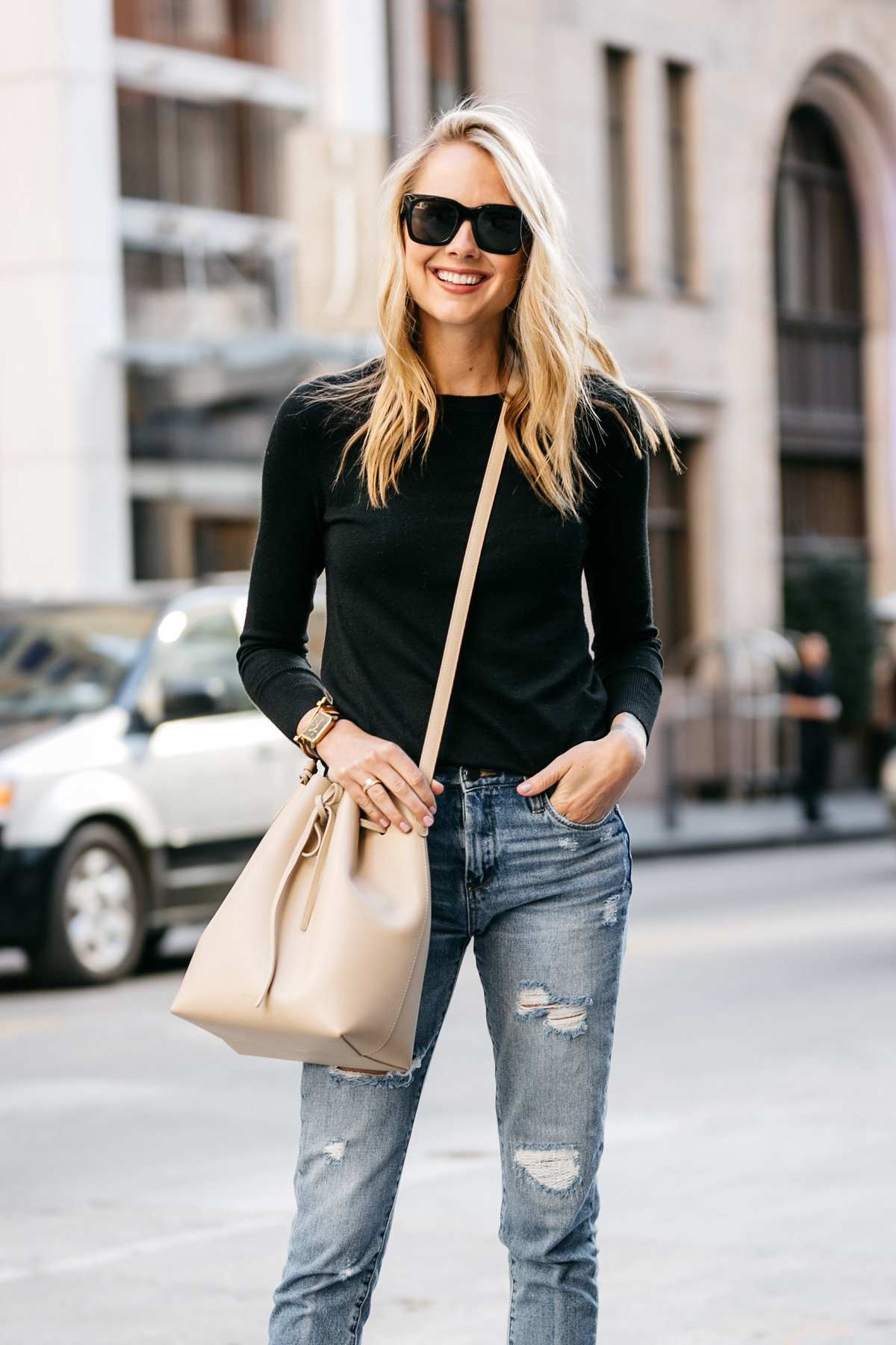 Fashion Jackson, Street Style, Black Sweater, Blanknyc Ms Throwback Distressed Jeans, Mansur Gavriel Bucket Bag