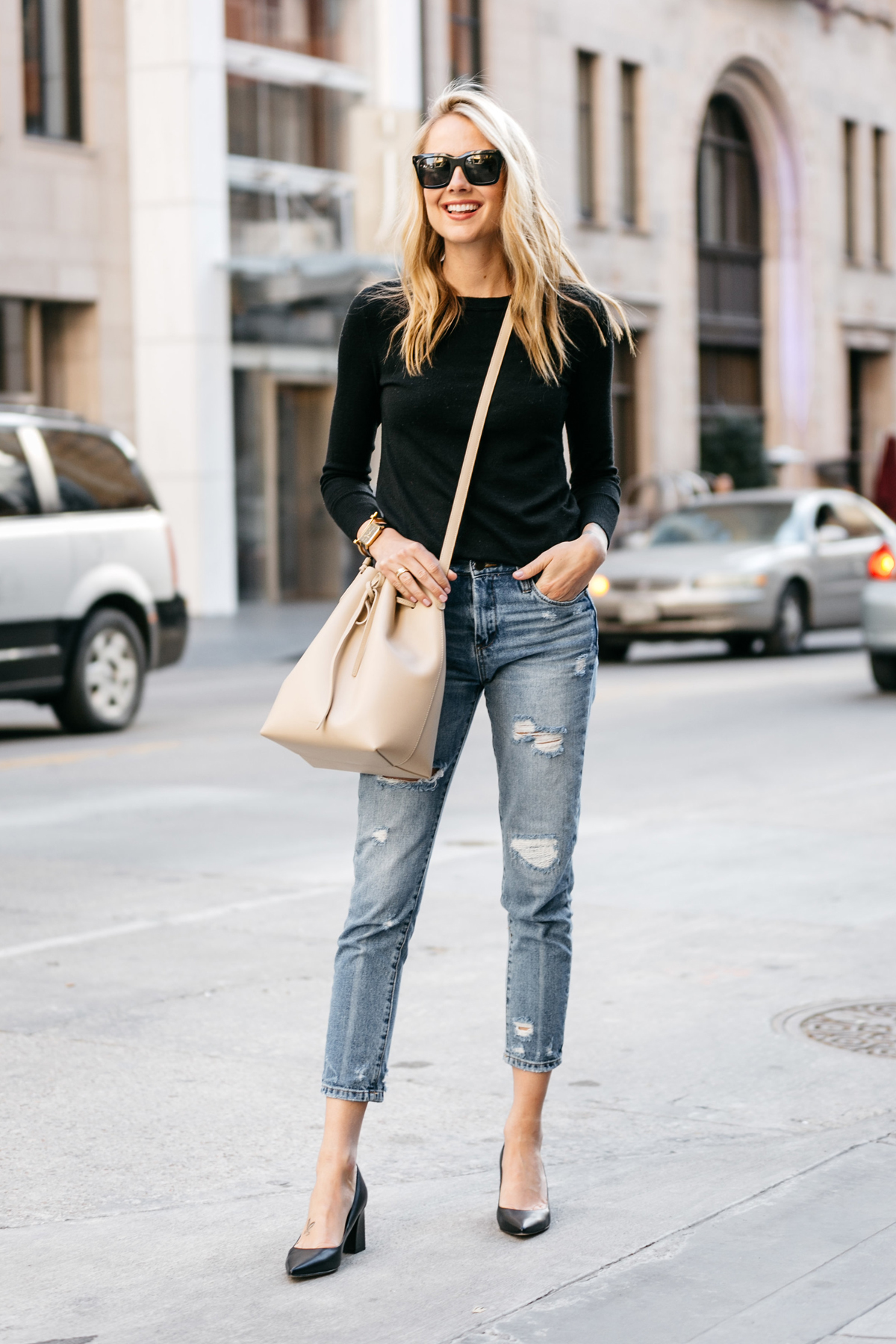 Fashion Jackson, Street Style, Black Sweater, Blanknyc Ms Throwback Distressed Jeans, Mansur Gavriel Bucket Bag, Marc Fisher Zara Pumps Black