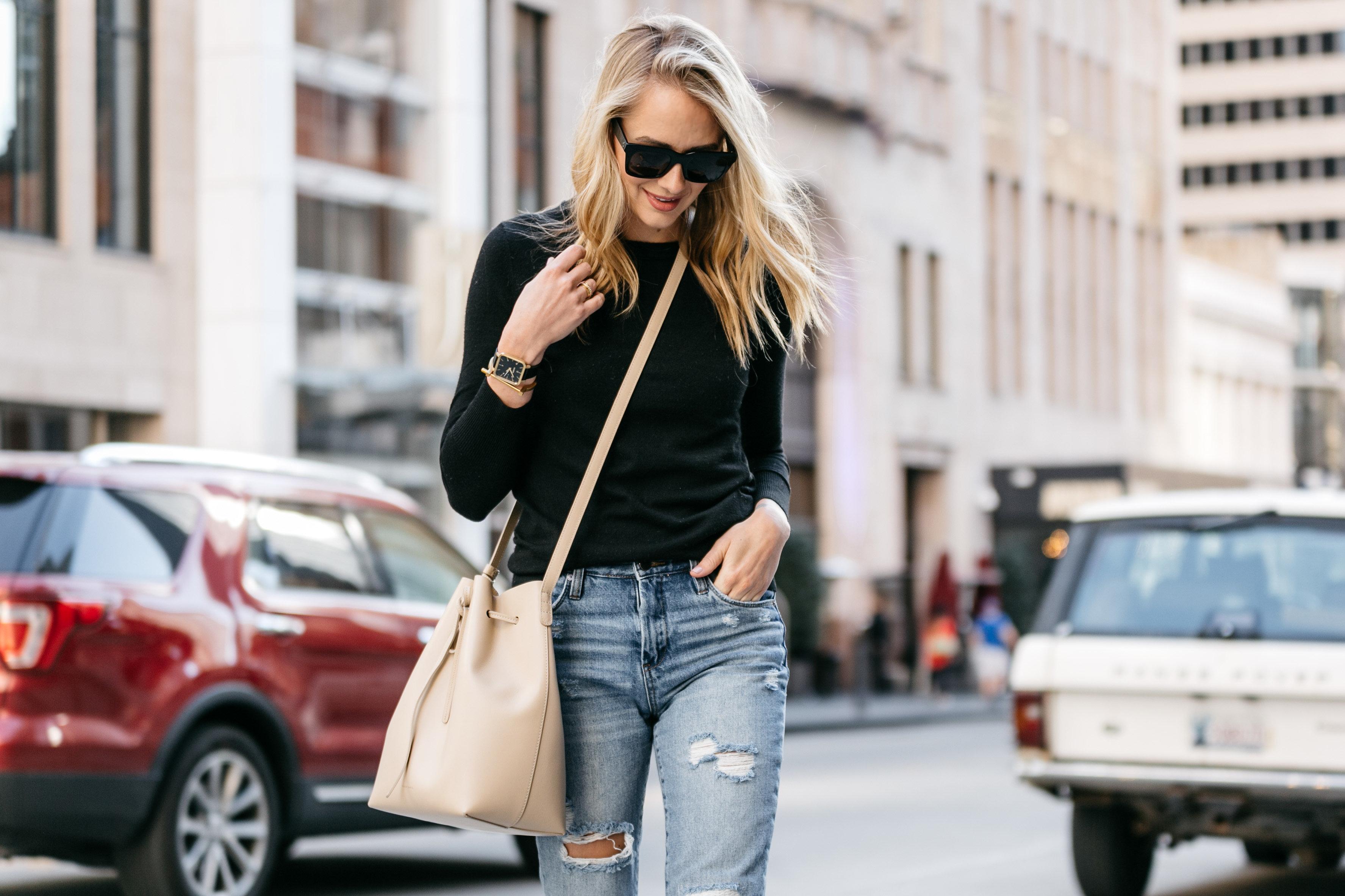 Fashion Jackson, Street Style, Black Sweater, Blanknyc Ms Throwback Distressed Jeans, Mansur Gavriel Bucket Bag