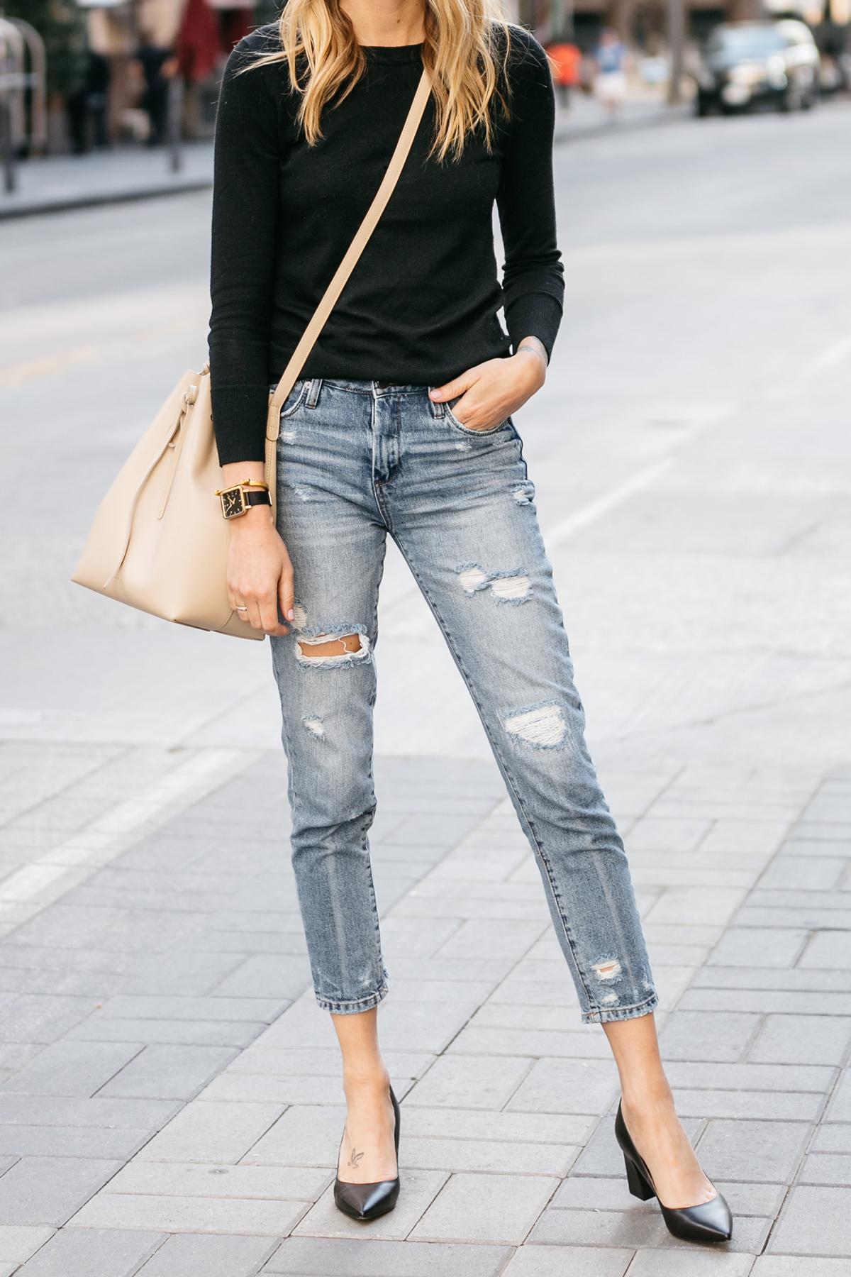 Fashion Jackson, Street Style, Black Sweater, Blanknyc Ms Throwback Distressed Jeans, Mansur Gavriel Bucket Bag, Marc Fisher Zara Pumps Black