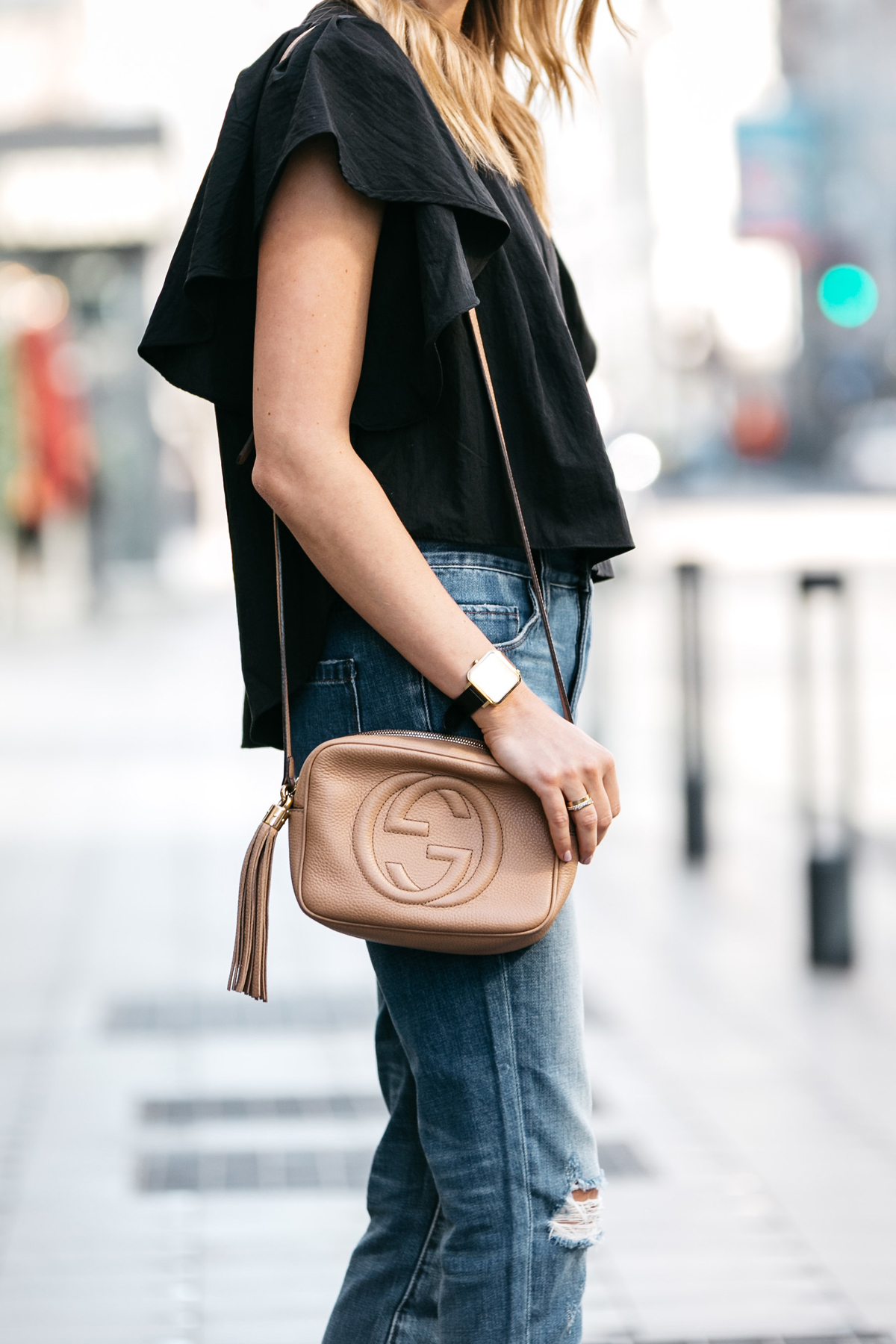 Black Ruffle Sleeve Top, Ripped Skinny Crop Jeans, Gucci Soho Disco Handbag