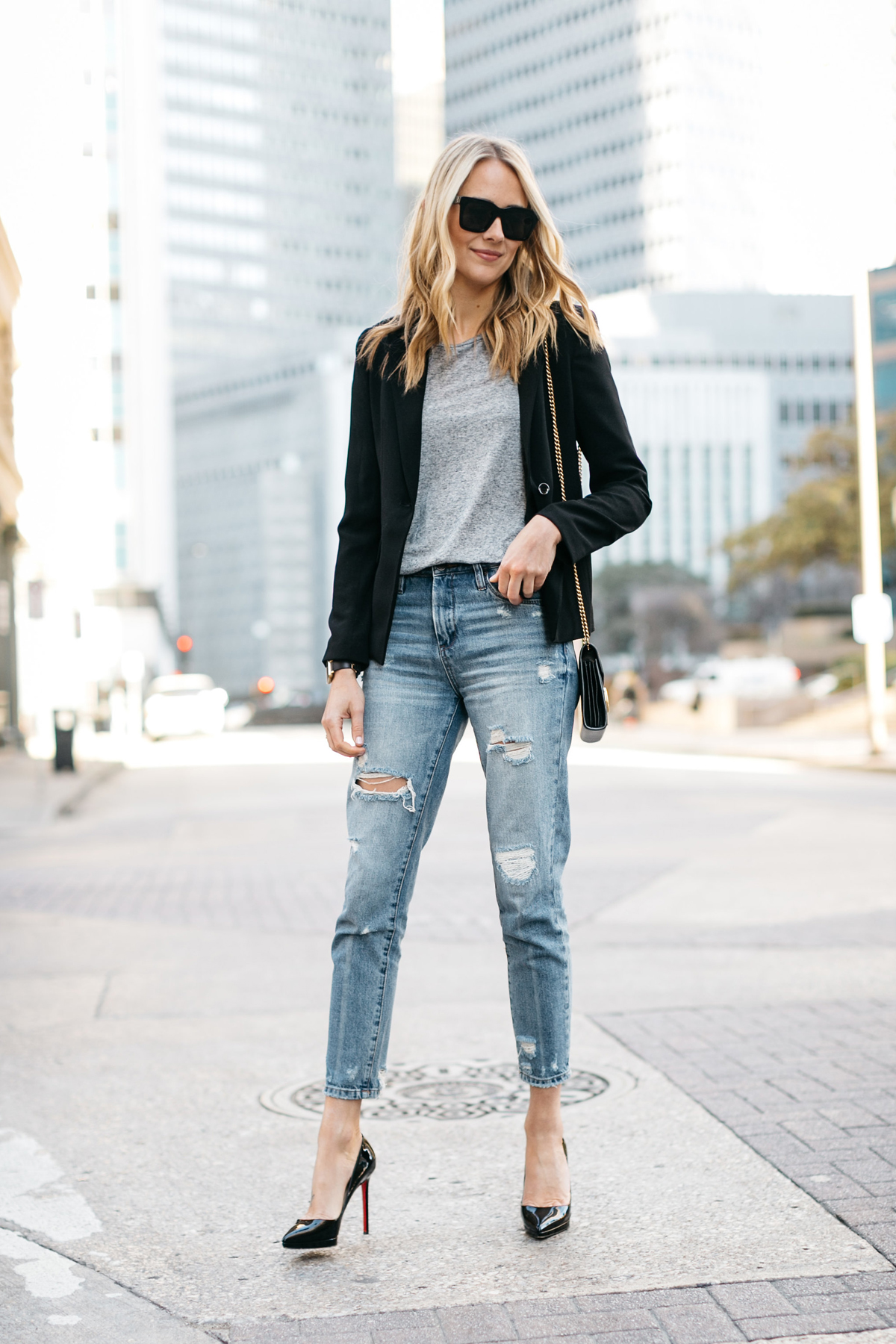 Street Style, Black Blazer, Grey Tshirt, Denim Ripped Mom Jeans, Black Christian Louboutin Pumps, Gucci Marmont Handbag, Black Celine Sunglasses, Spring Outfit